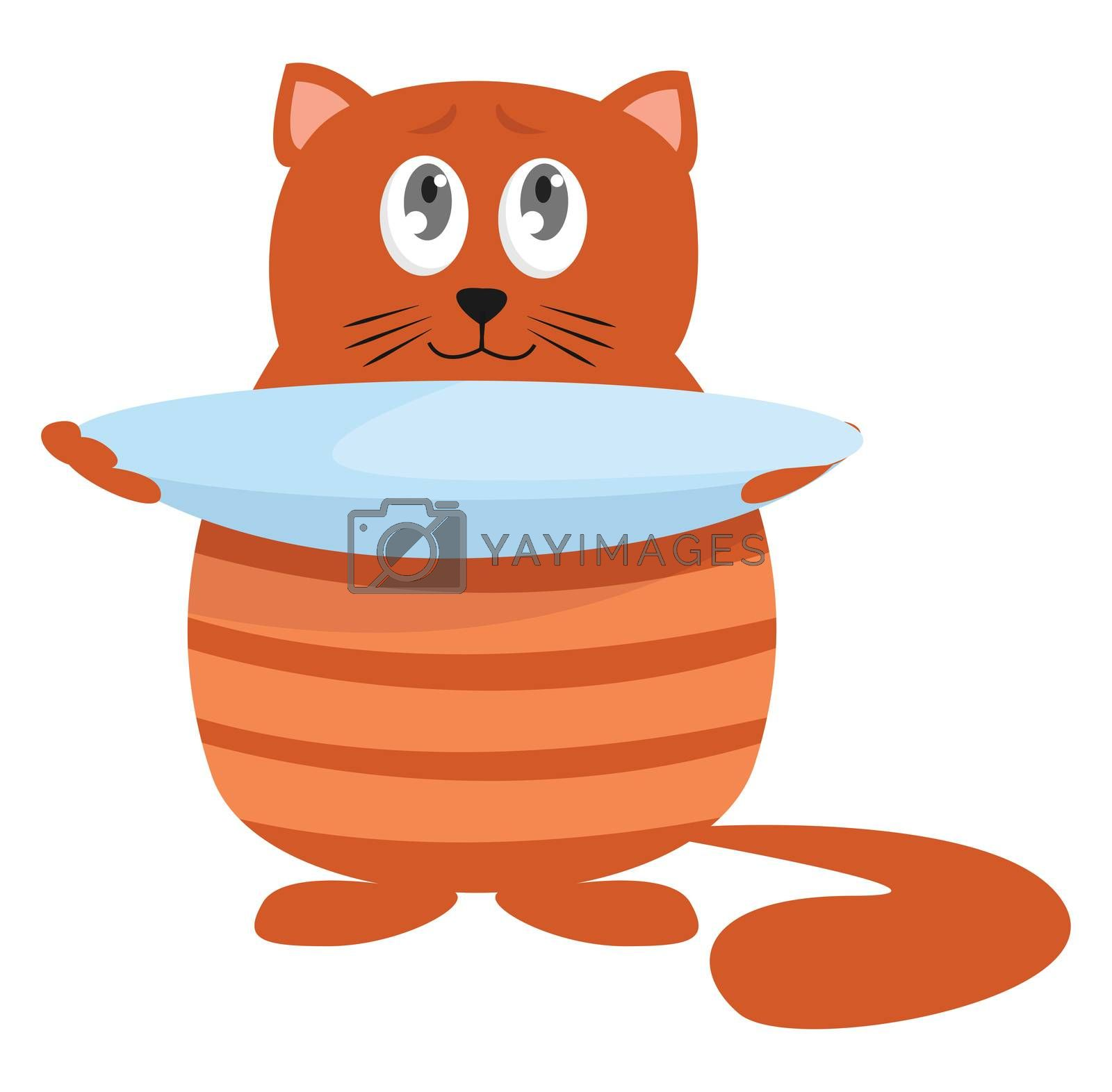 Hungry cat , illustration, vector on white background