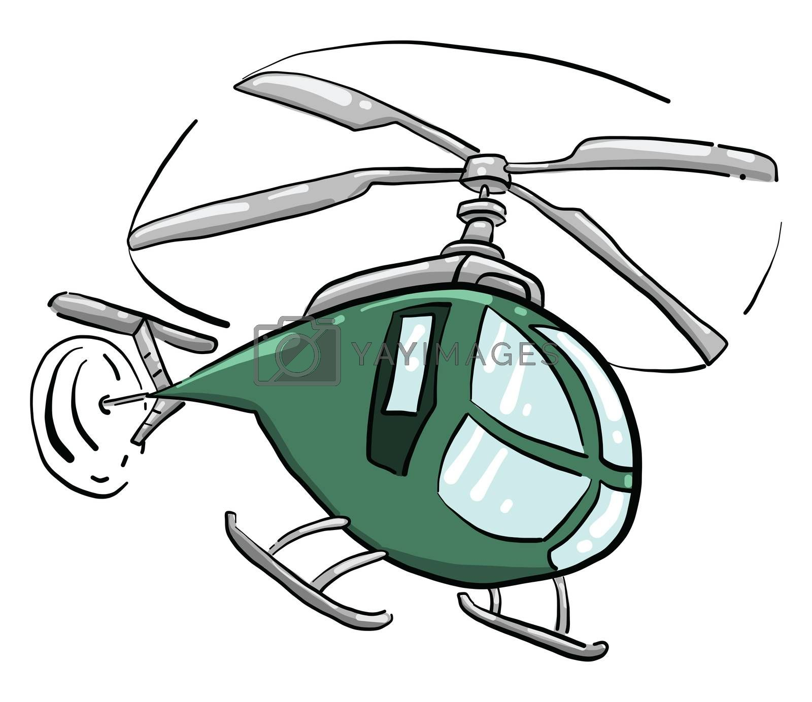 Green helicopter , illustration, vector on white background