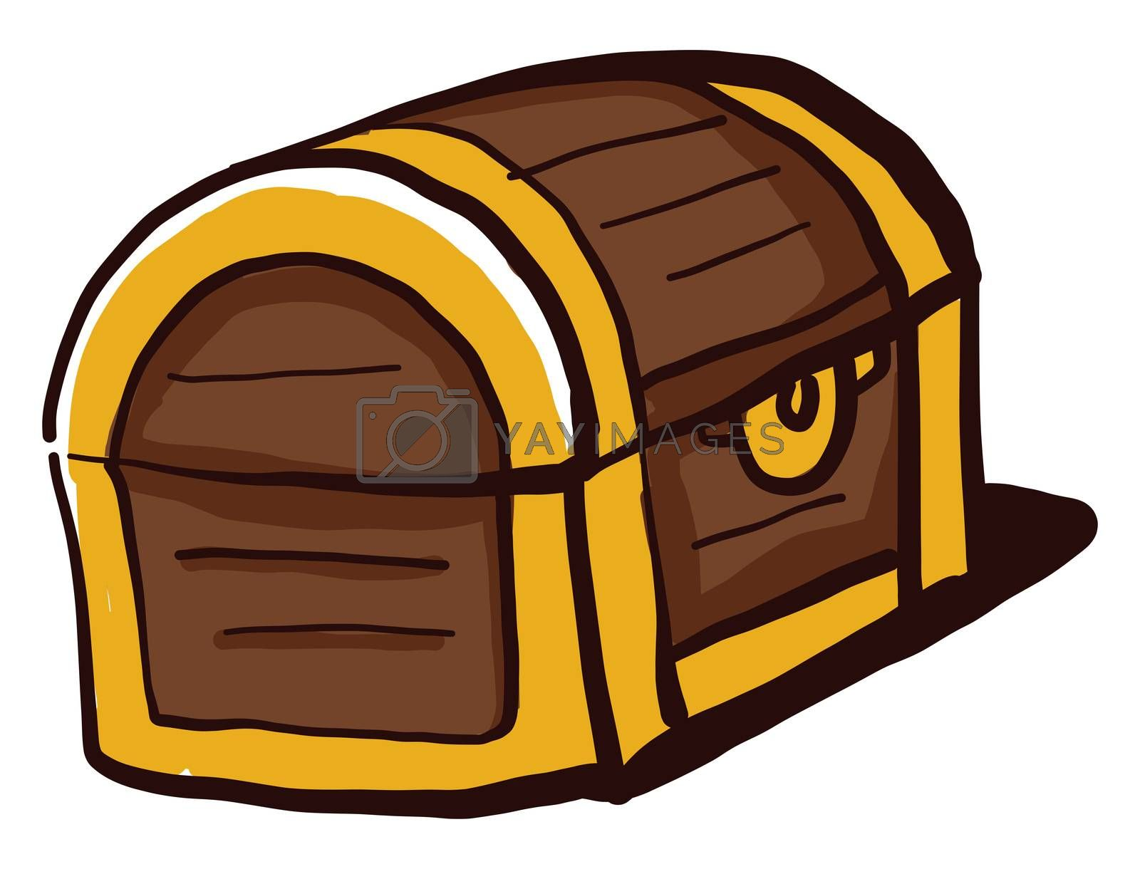 Wooden chest with treasure , illustration, vector on white background