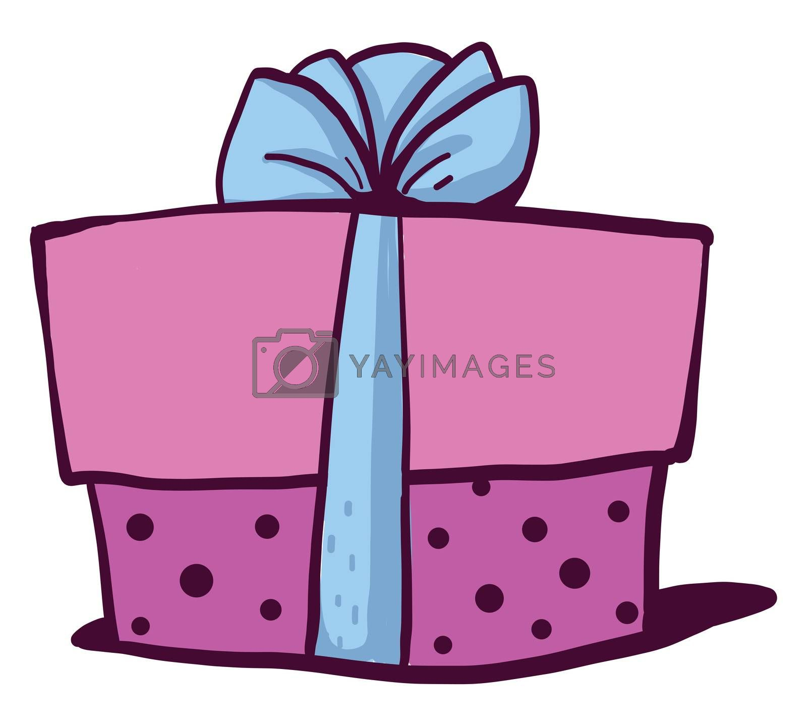 Pink birthday present , illustration, vector on white background