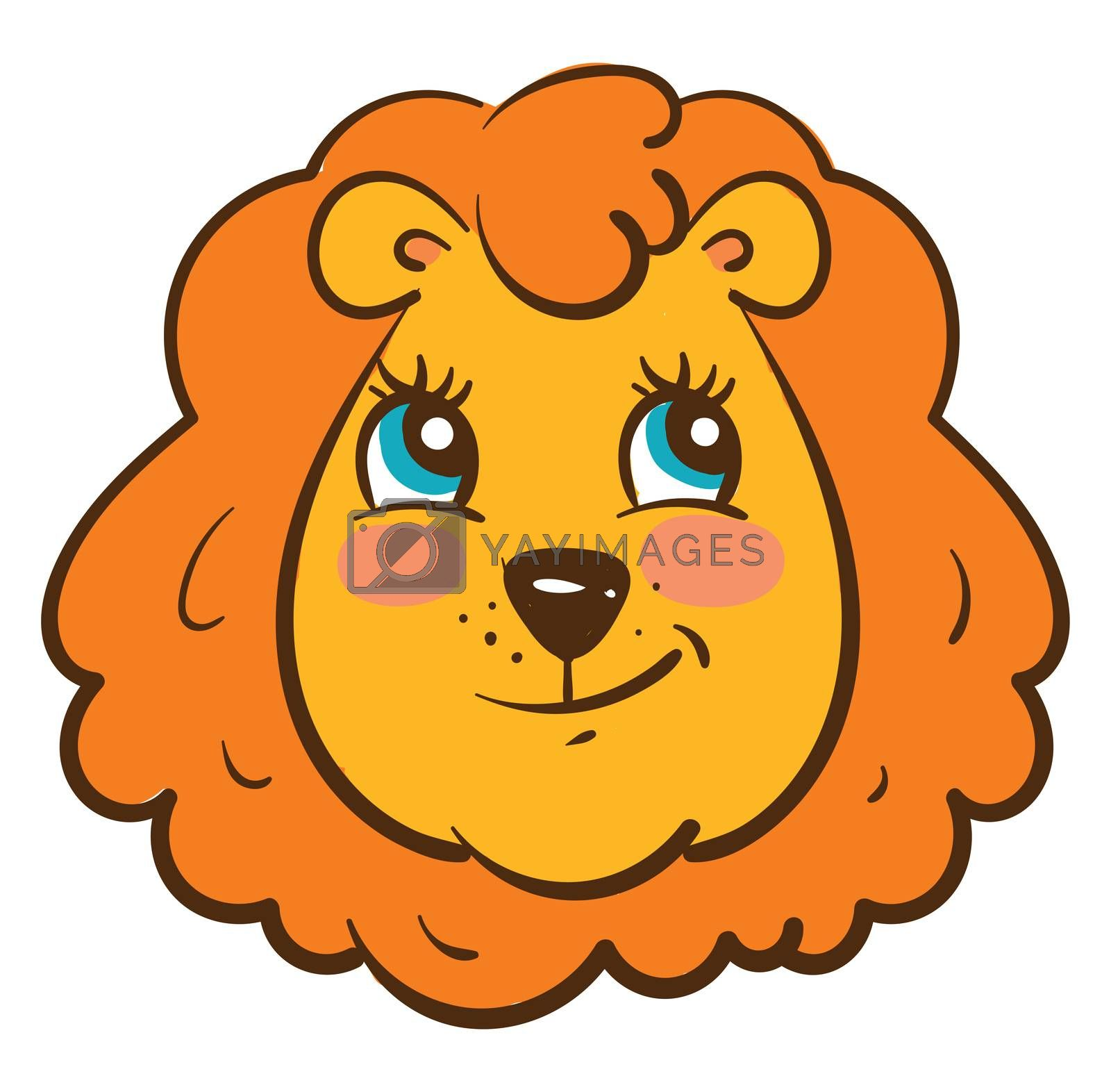 Happy head of a lion , illustration, vector on white background