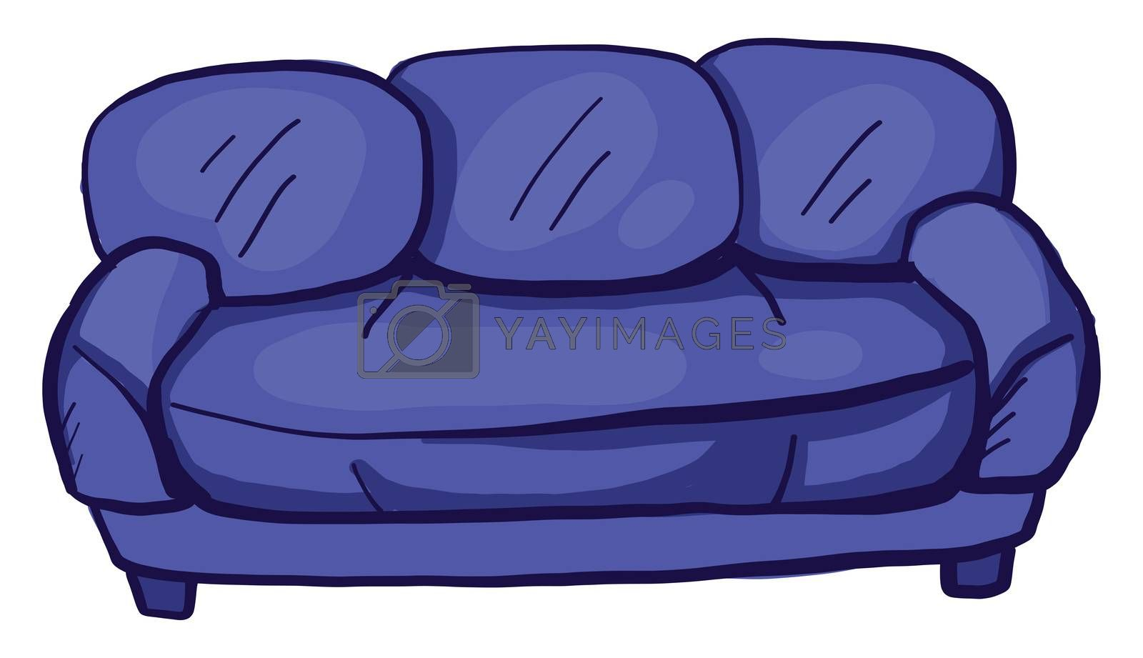 Purple couch , illustration, vector on white background