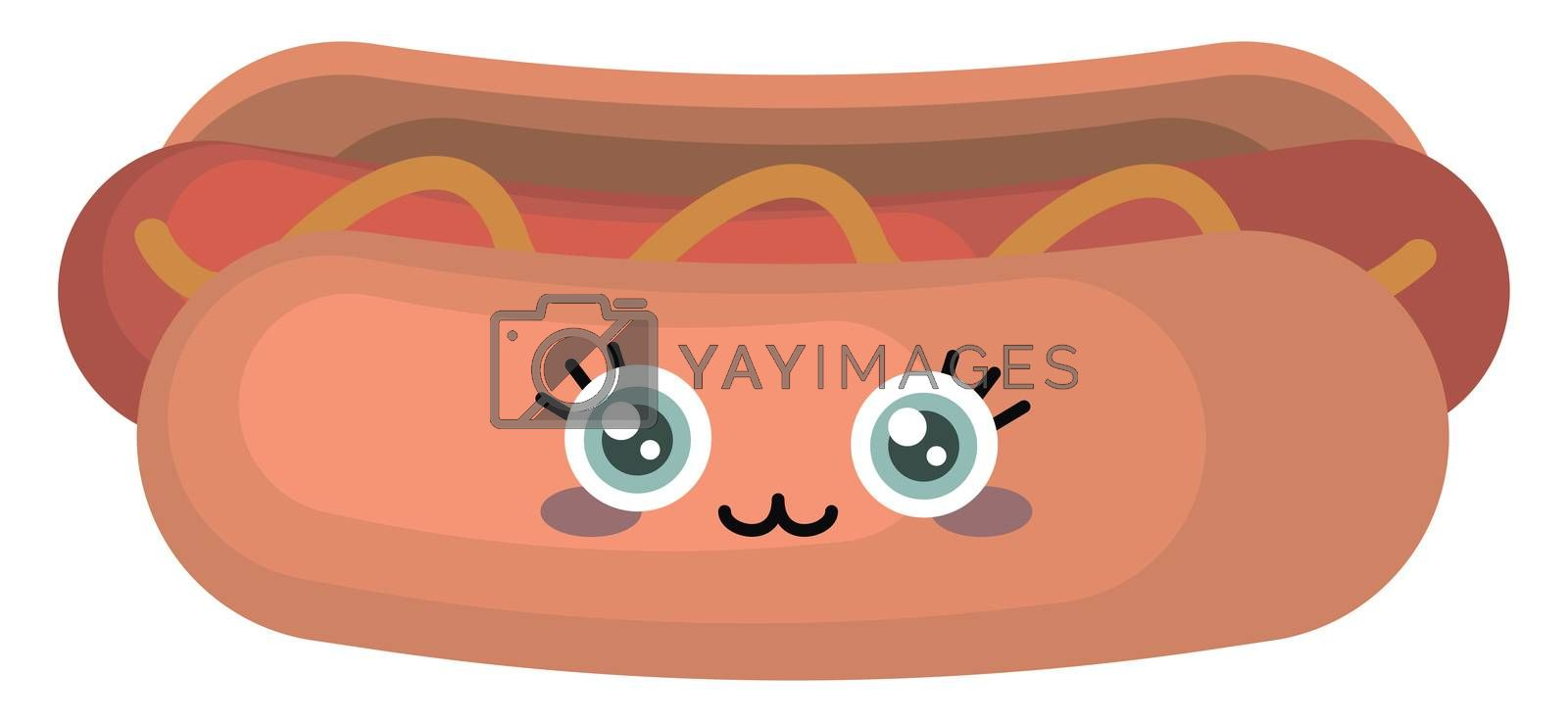 Cute happy hot dog , illustration, vector on white background