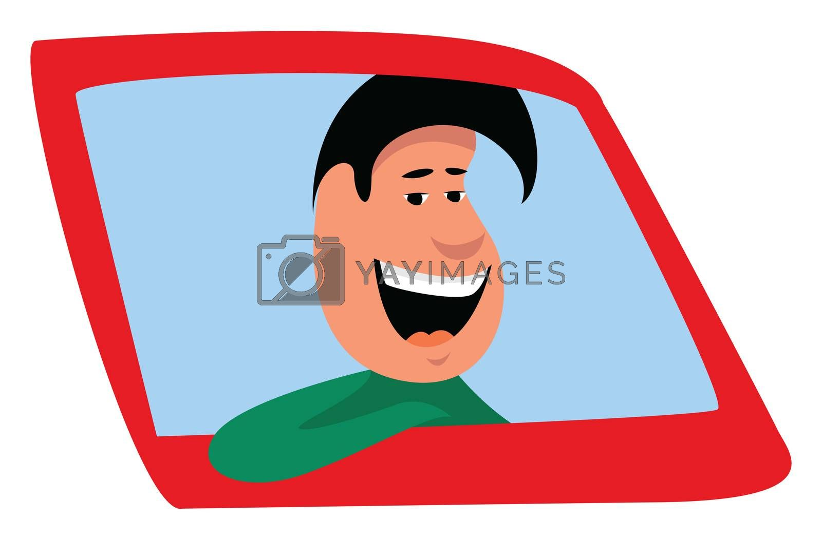 Man in the car , illustration, vector on white background