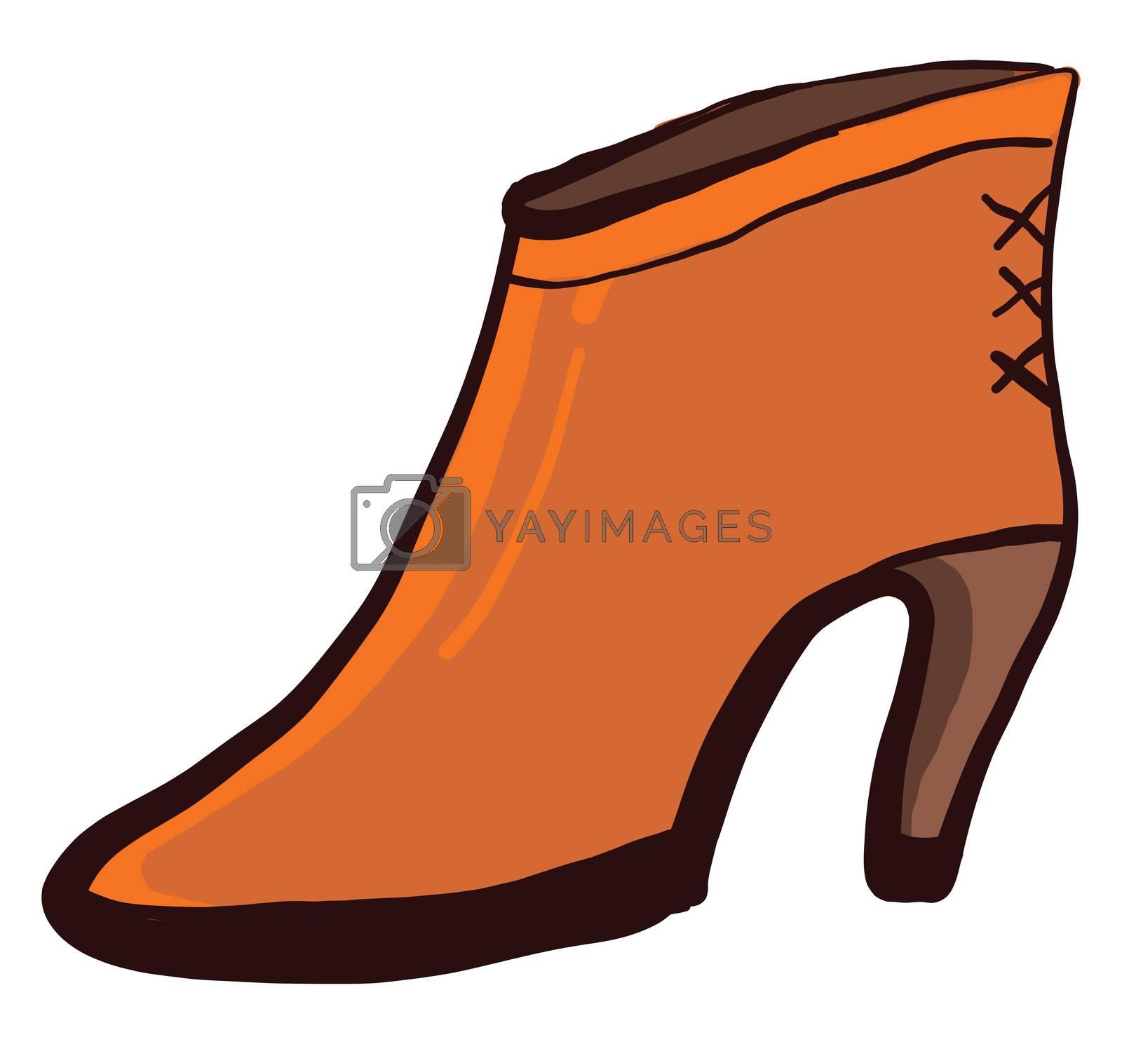 Orange woman shoes , illustration, vector on white background