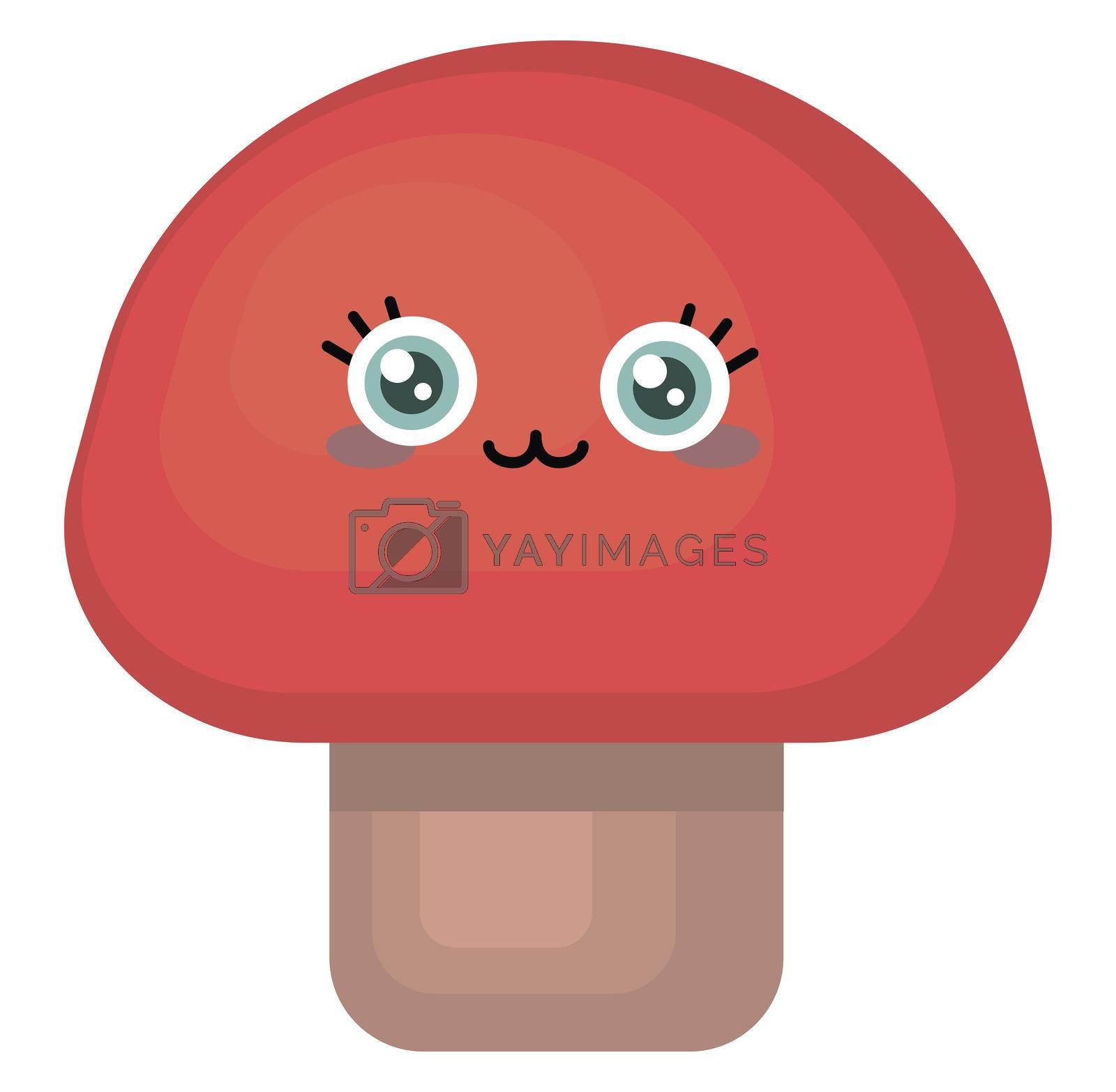 Cute mushroom , illustration, vector on white background
