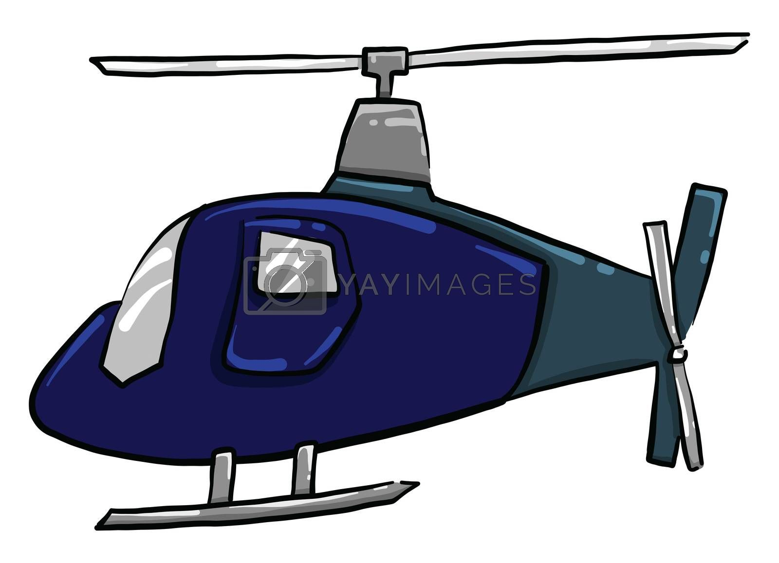 Blue helicopter , illustration, vector on white background