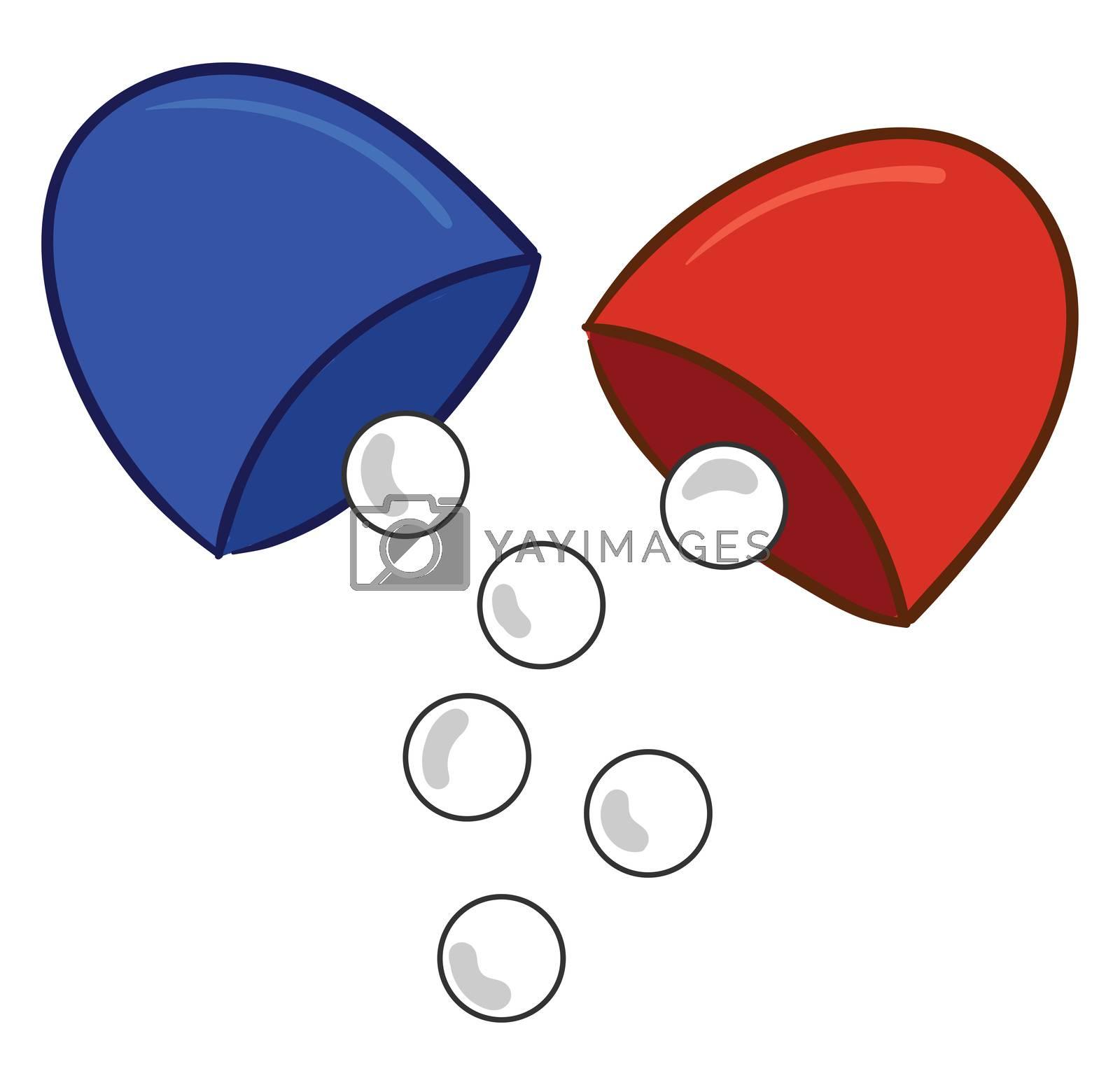 Open capsule , illustration, vector on white background