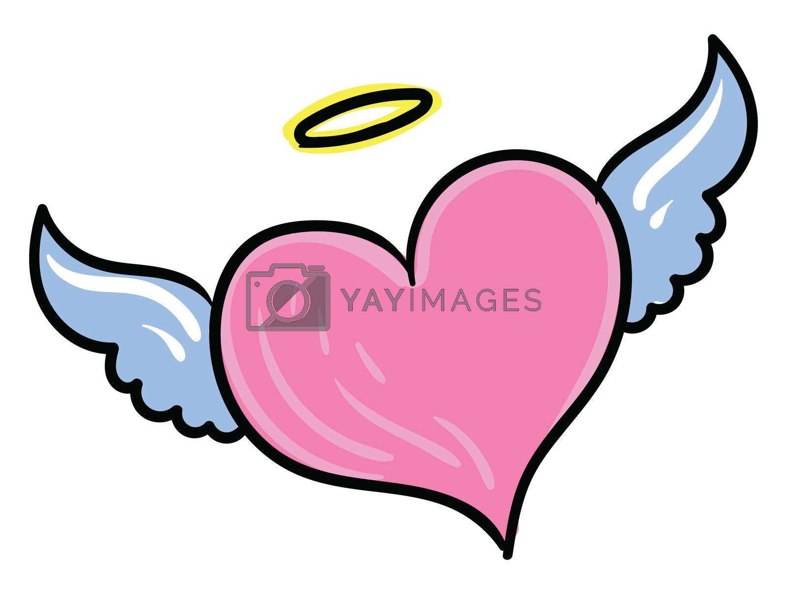 Pink heart with wings , illustration, vector on white background