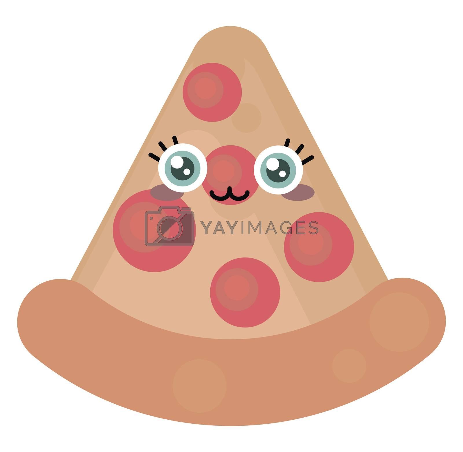 Cute pizza slice , illustration, vector on white background