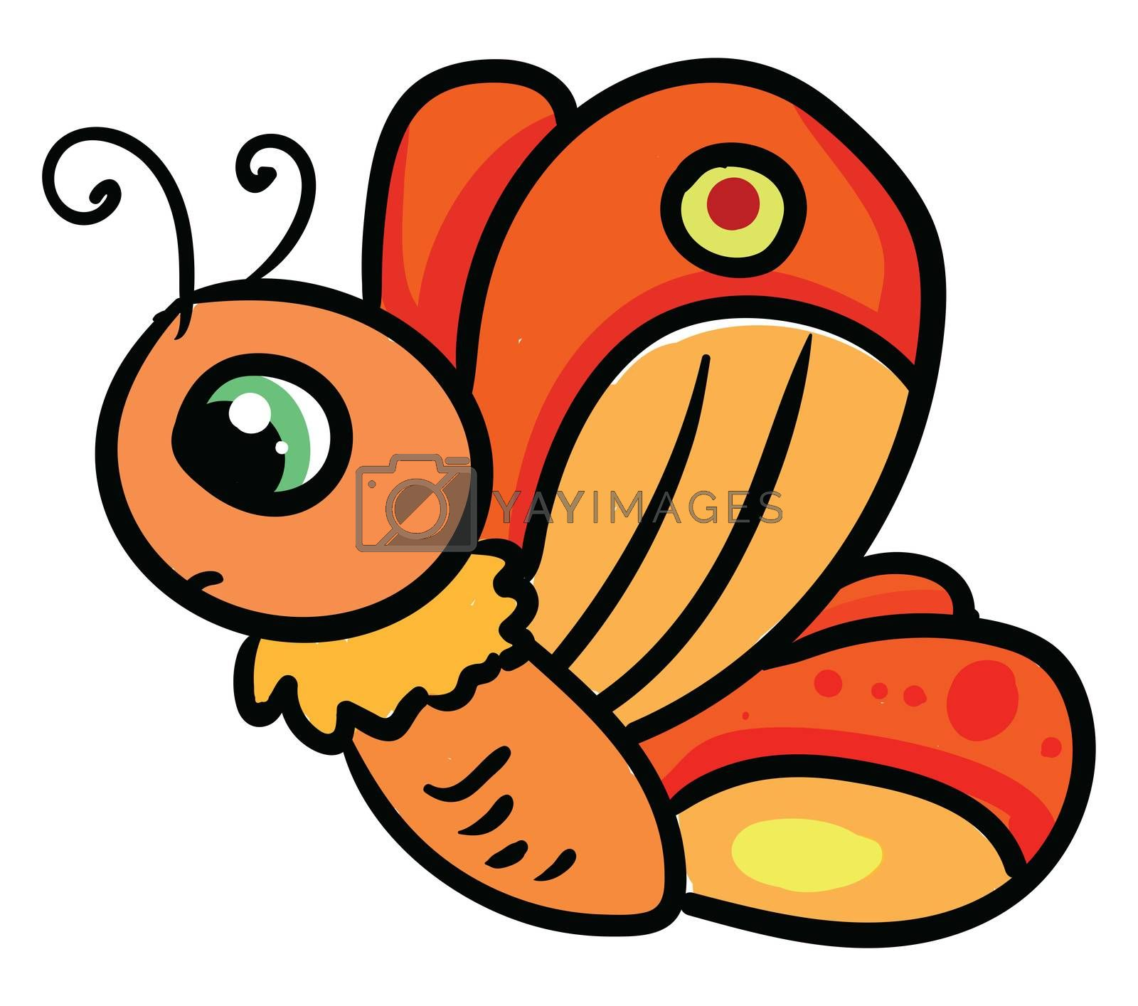 Sad butterfly , illustration, vector on white background