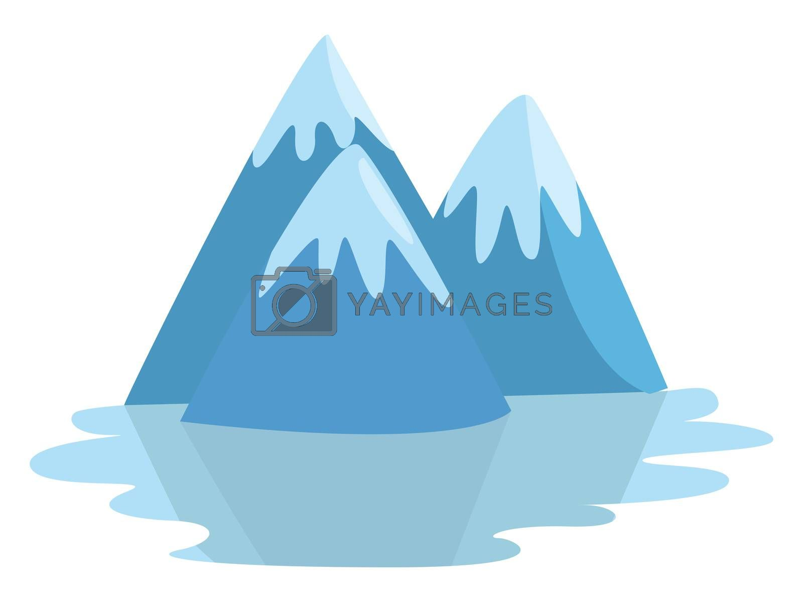 Snow capped mountains , illustration, vector on white background