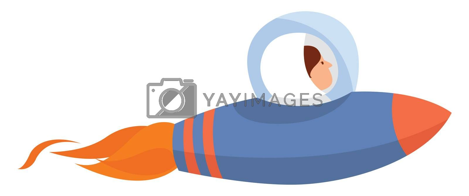 Blue space rocket , illustration, vector on white background by Morphart
