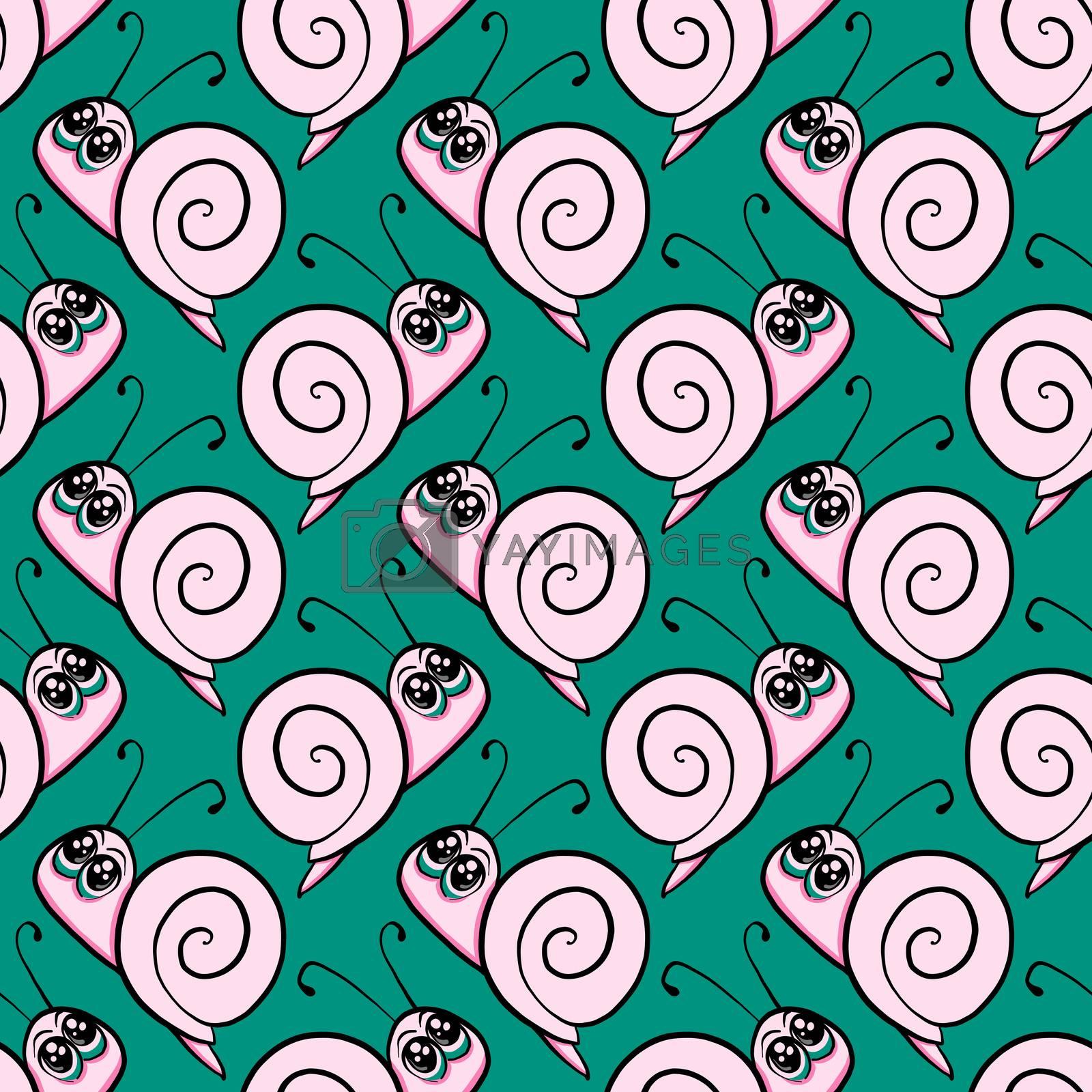 Snail pattern , illustration, vector on white background