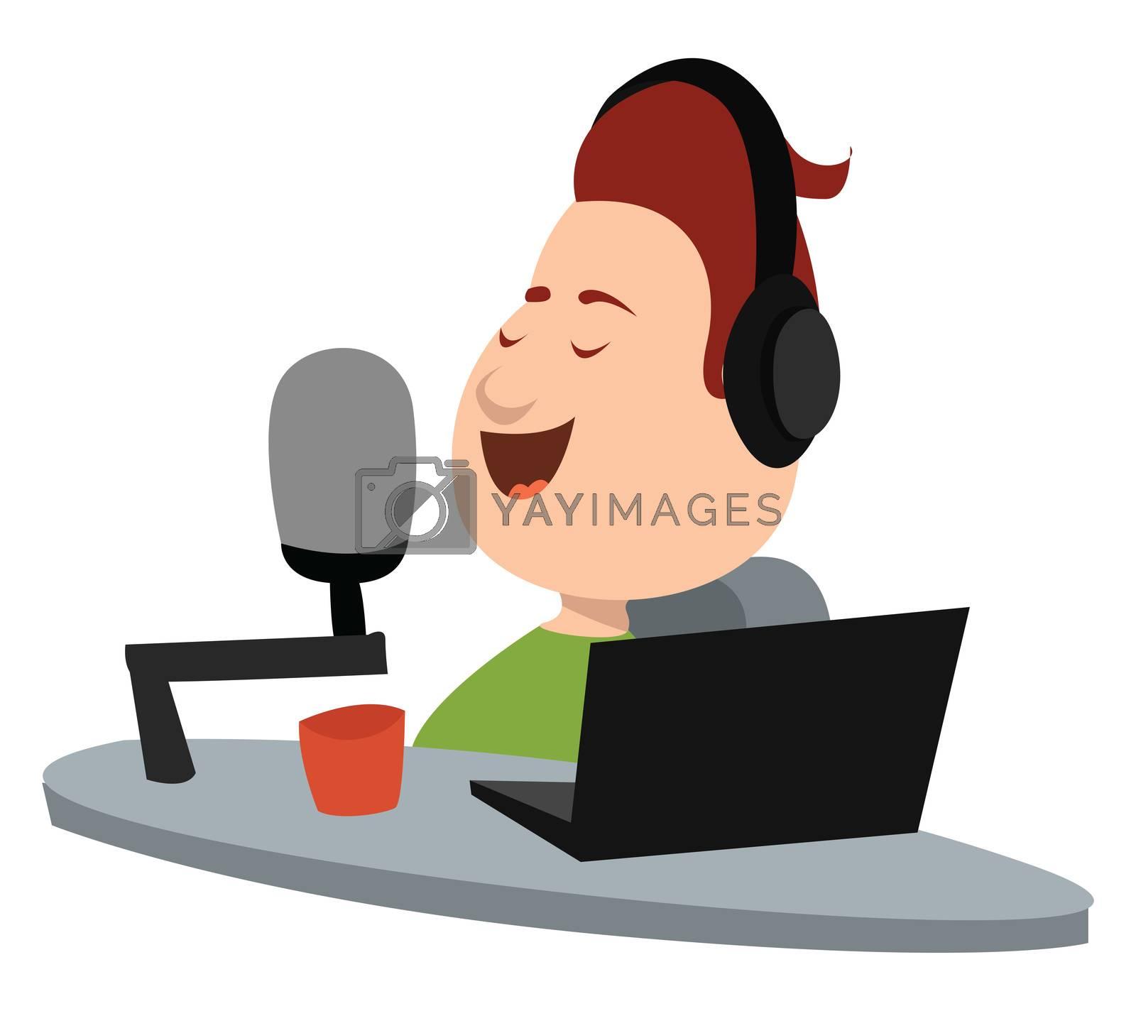 Radio host , illustration, vector on white background