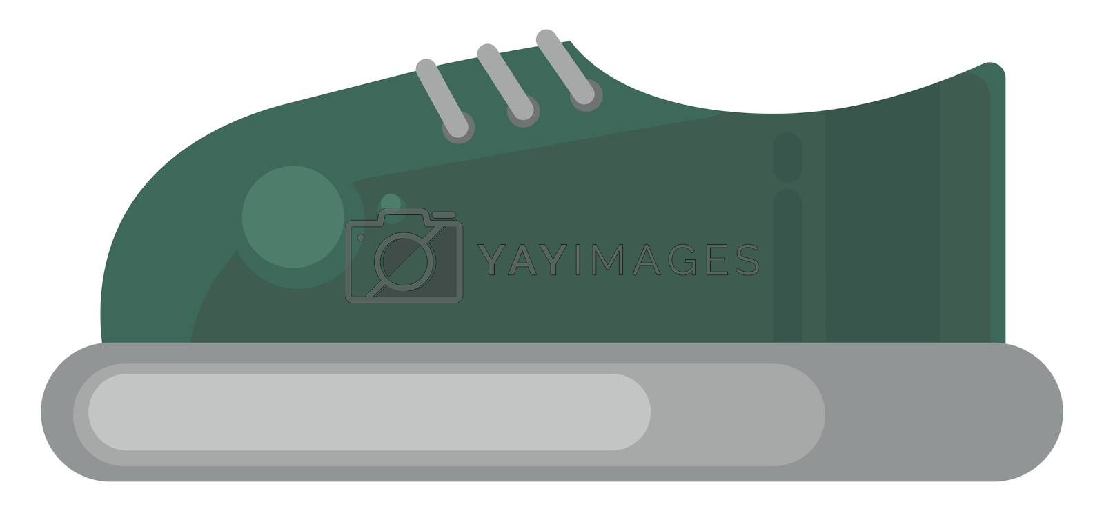 Green sneakers , illustration, vector on white background