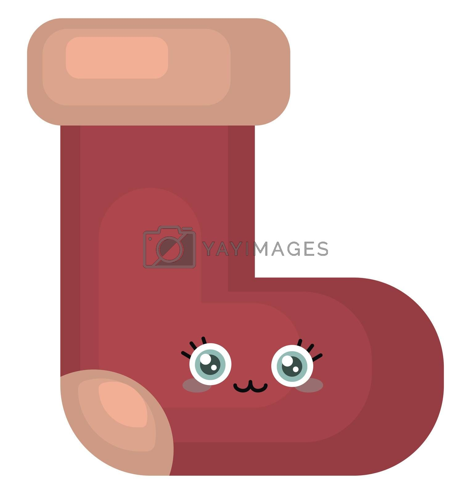 Red cute sock , illustration, vector on white background