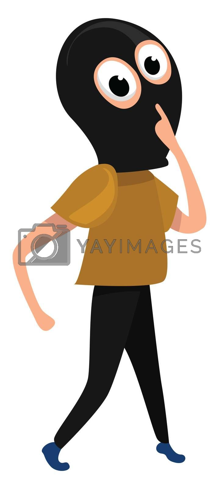 Thief with mask , illustration, vector on white background