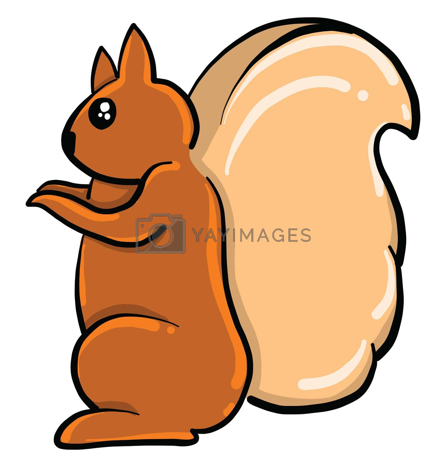 Brown squirrel , illustration, vector on white background