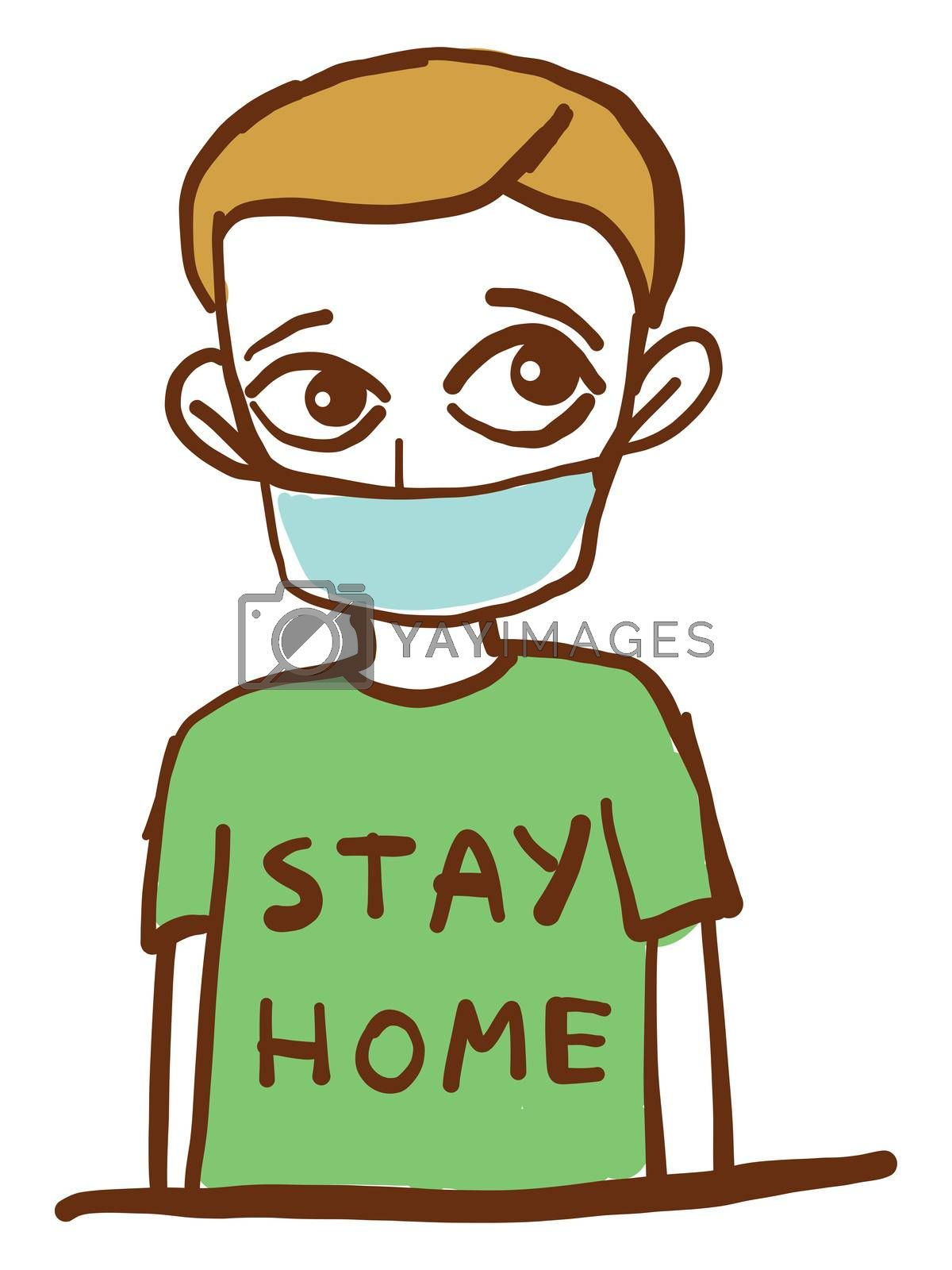 Man with stay home shirt , illustration, vector on white background