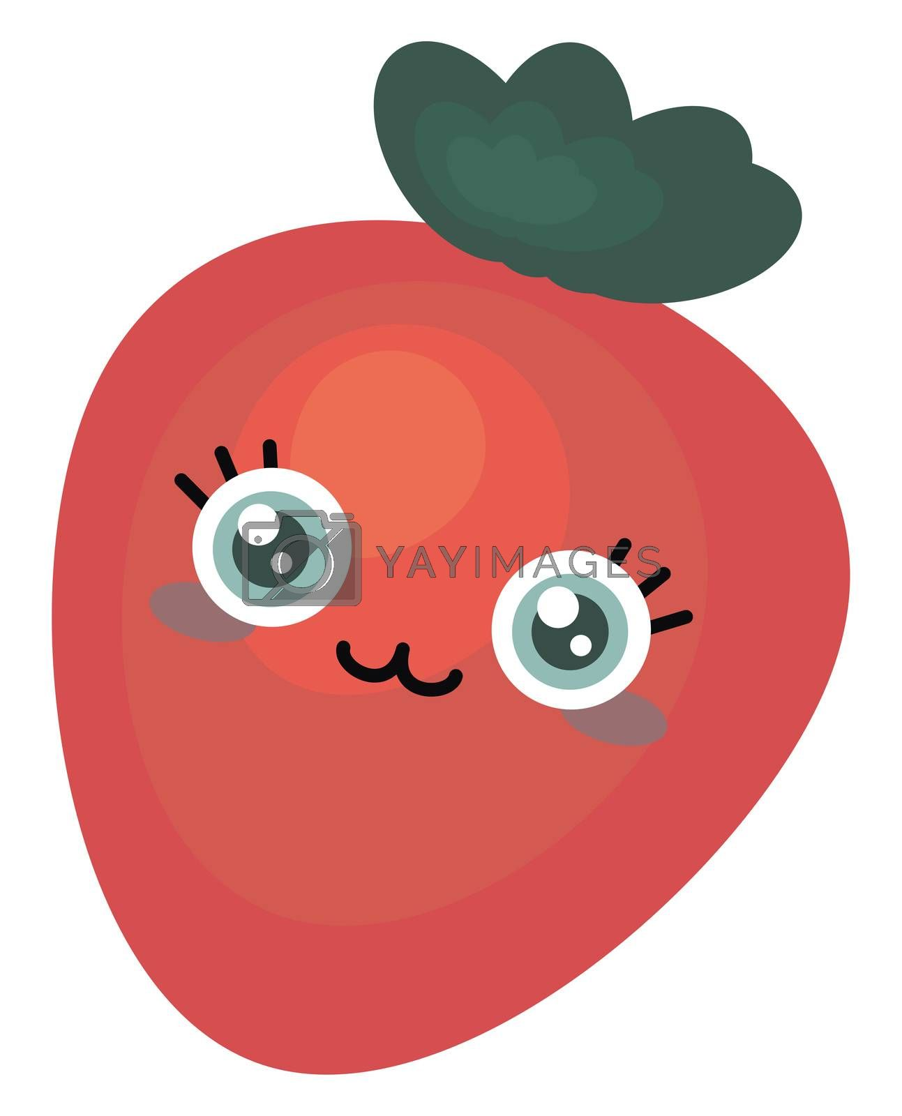 Cute strawberry , illustration, vector on white background
