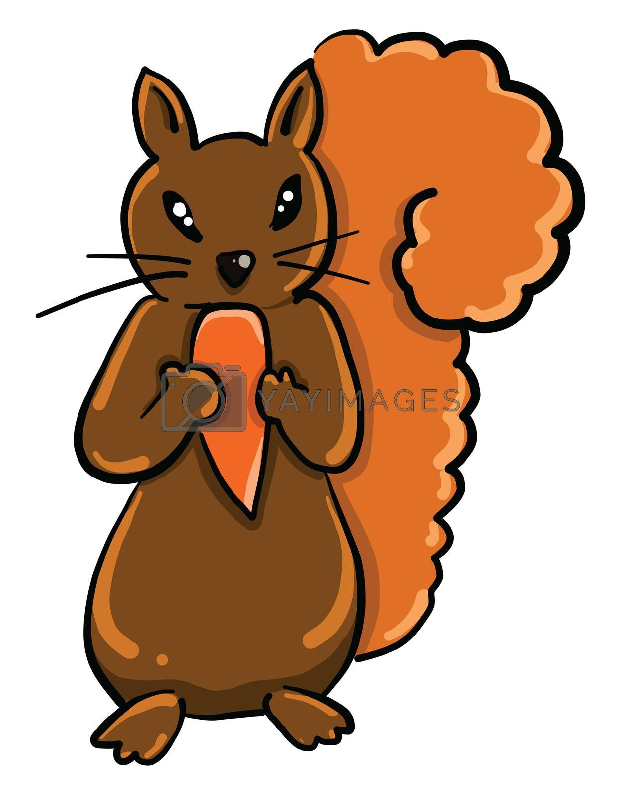 Squirrel with food , illustration, vector on white background