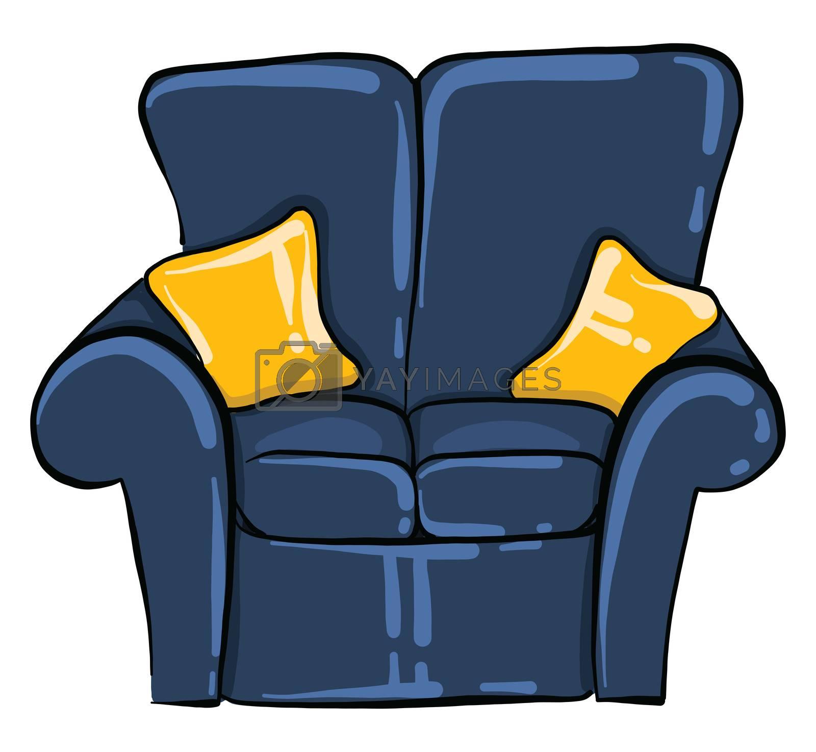Blue sofa , illustration, vector on white background