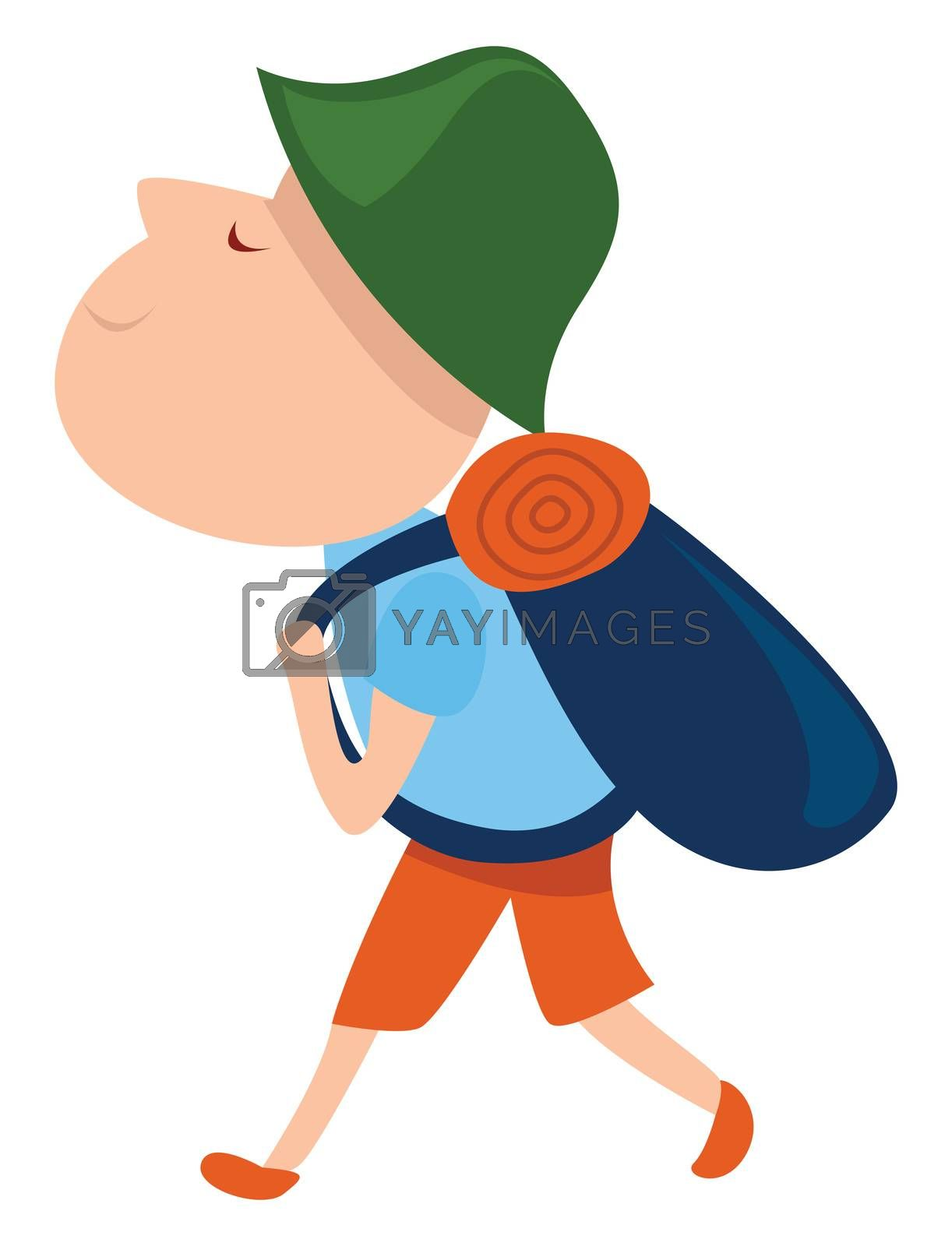 Tourist with green hat , illustration, vector on white background