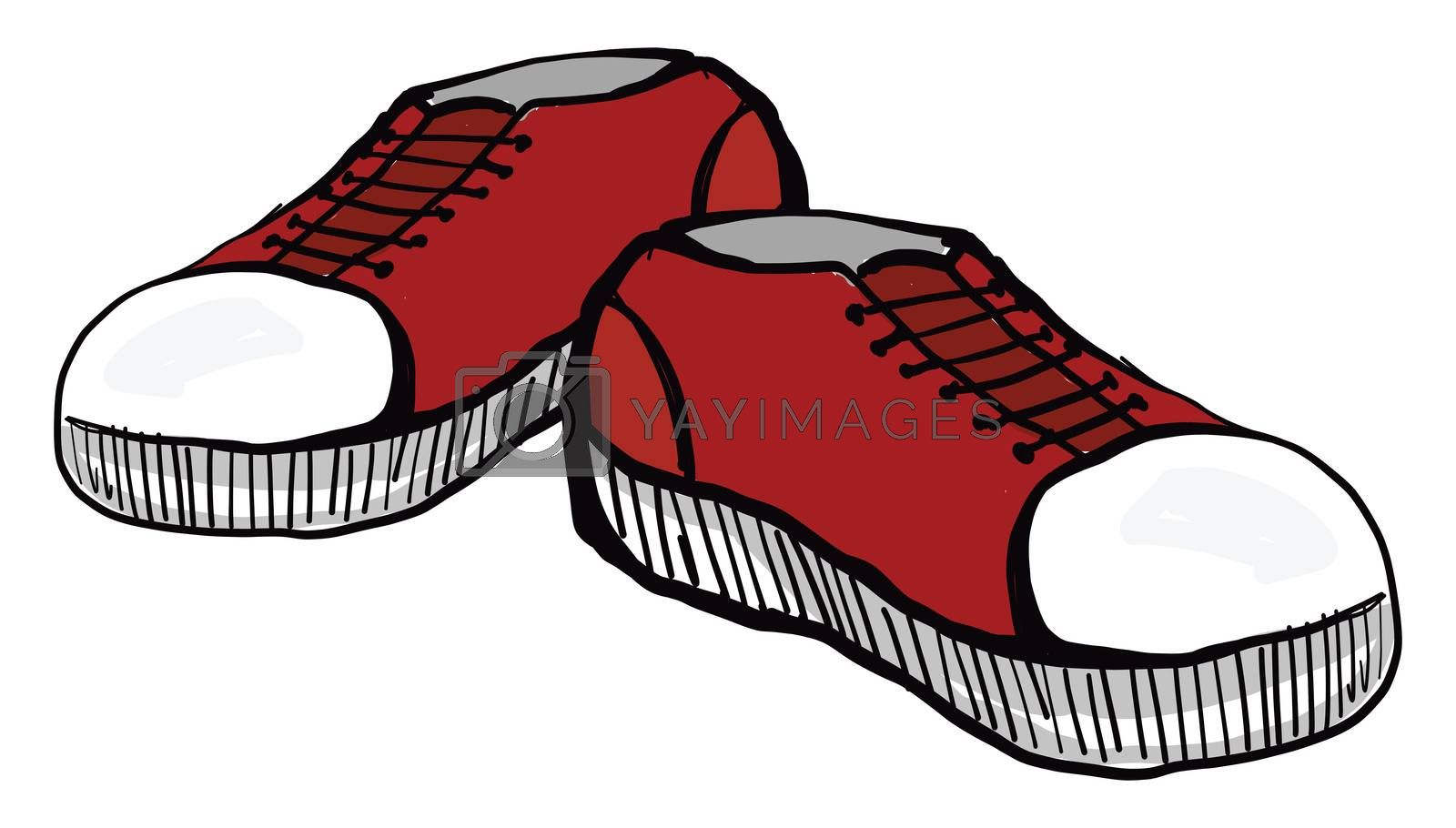 Red sneakers , illustration, vector on white background