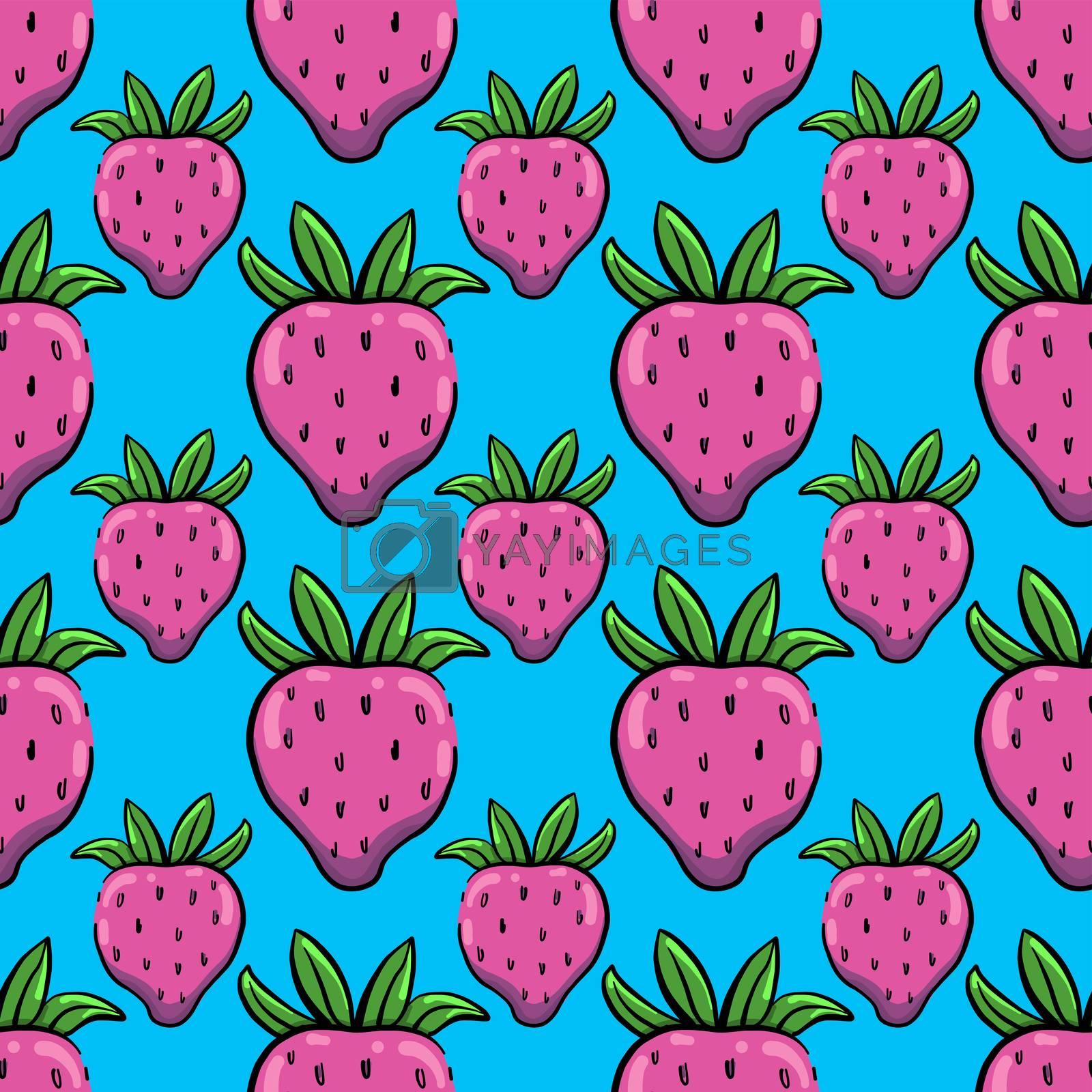 Strawberries pattern , illustration, vector on white background