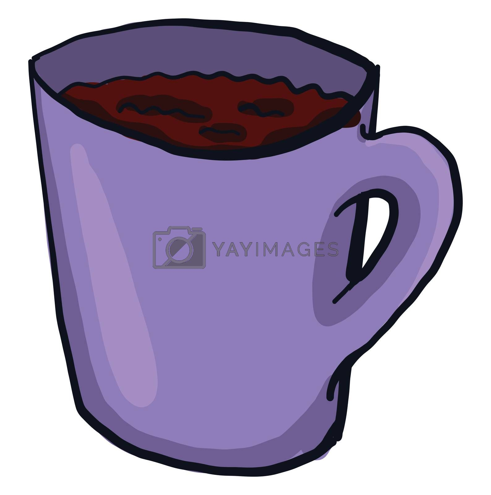 Cup of coffee , illustration, vector on white background