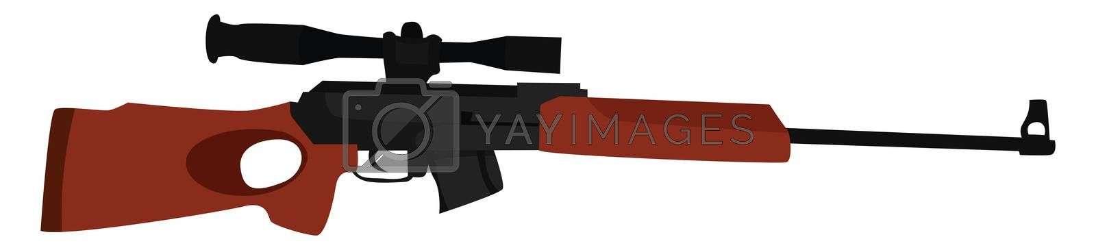Sniper rifle with scope , illustration, vector on white background