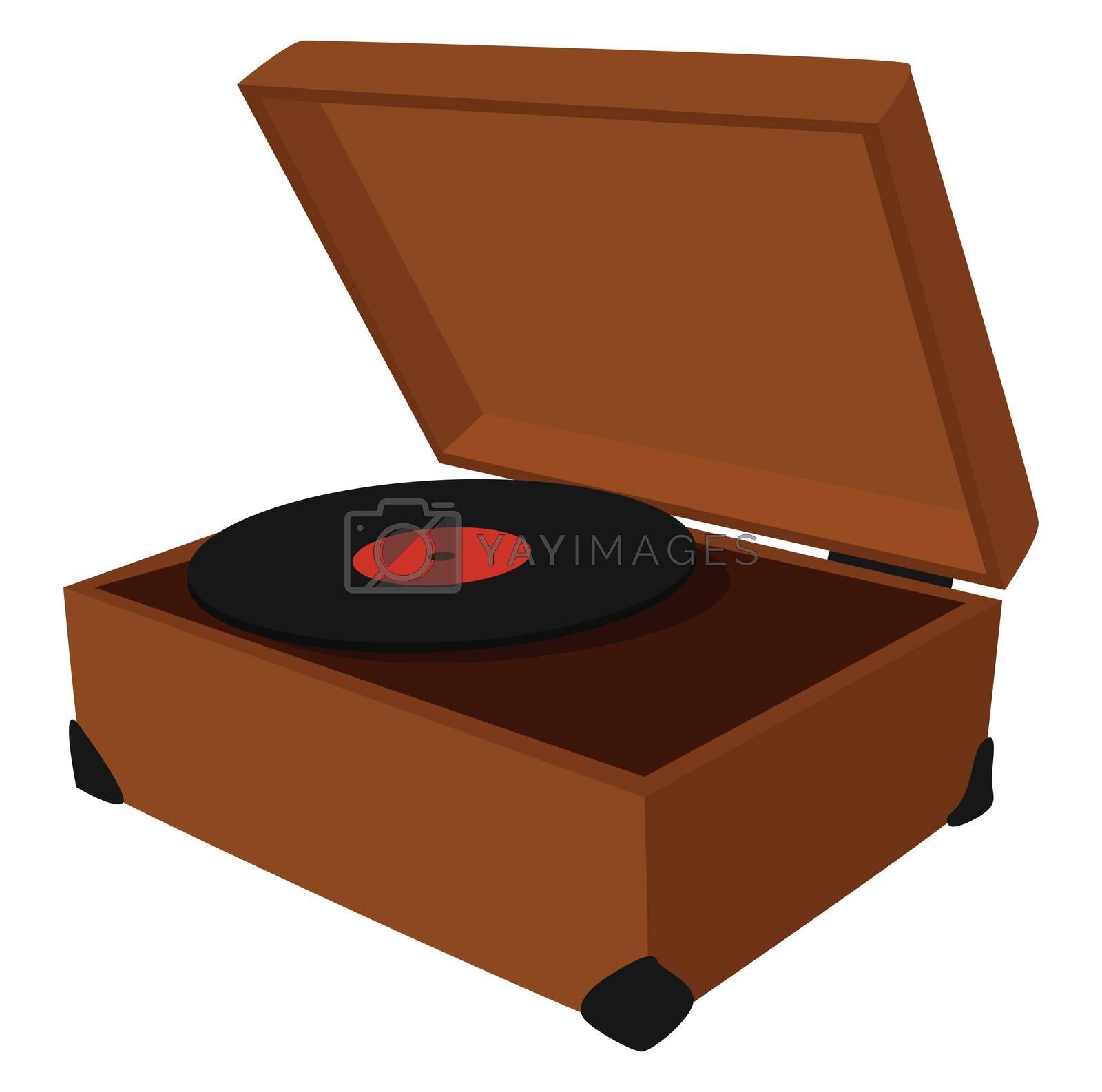 Vinyl player , illustration, vector on white background