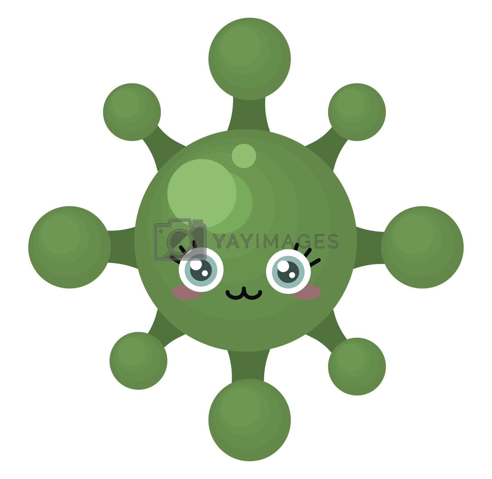 Green cute virus , illustration, vector on white background