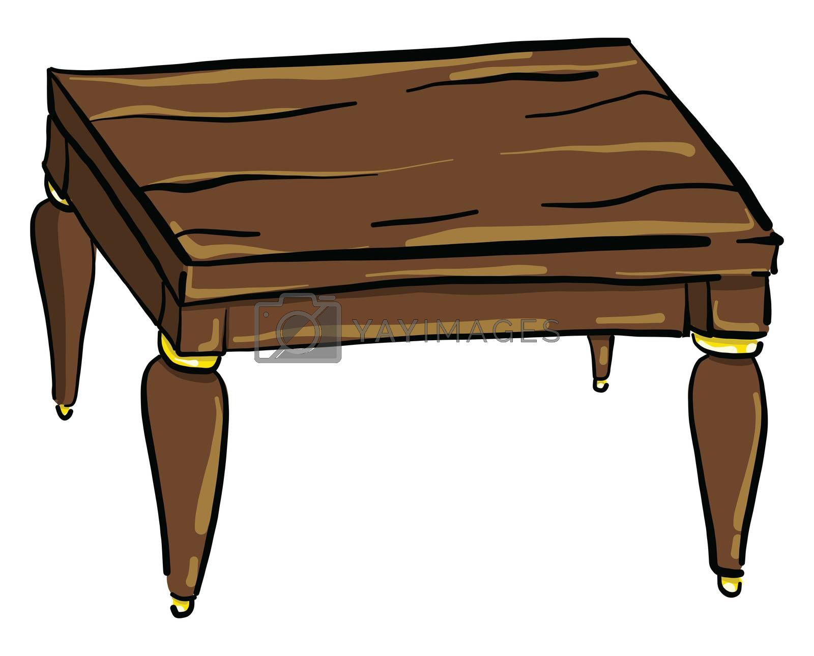 Wooden table , illustration, vector on white background