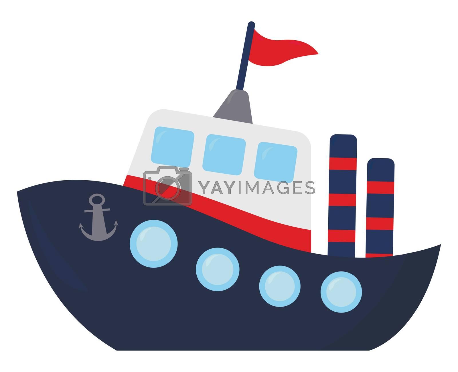 Blue ship , illustration, vector on white background by Morphart