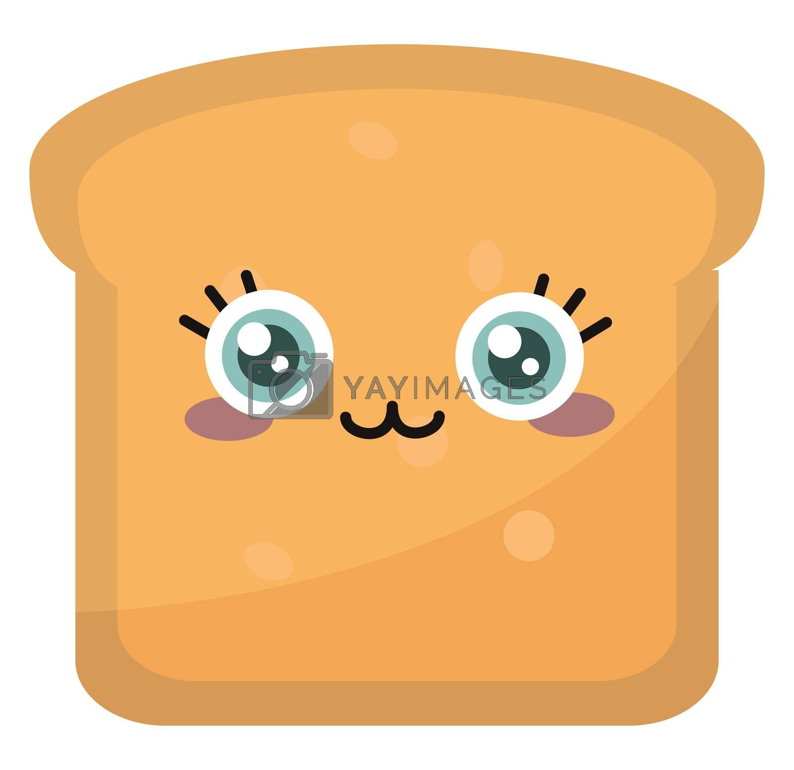 Cute toast , illustration, vector on white background by Morphart