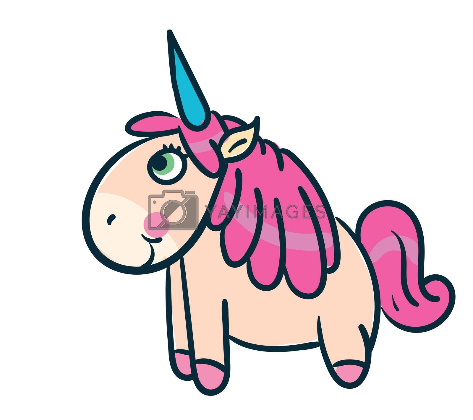 Happy unicorn , illustration, vector on white background by Morphart