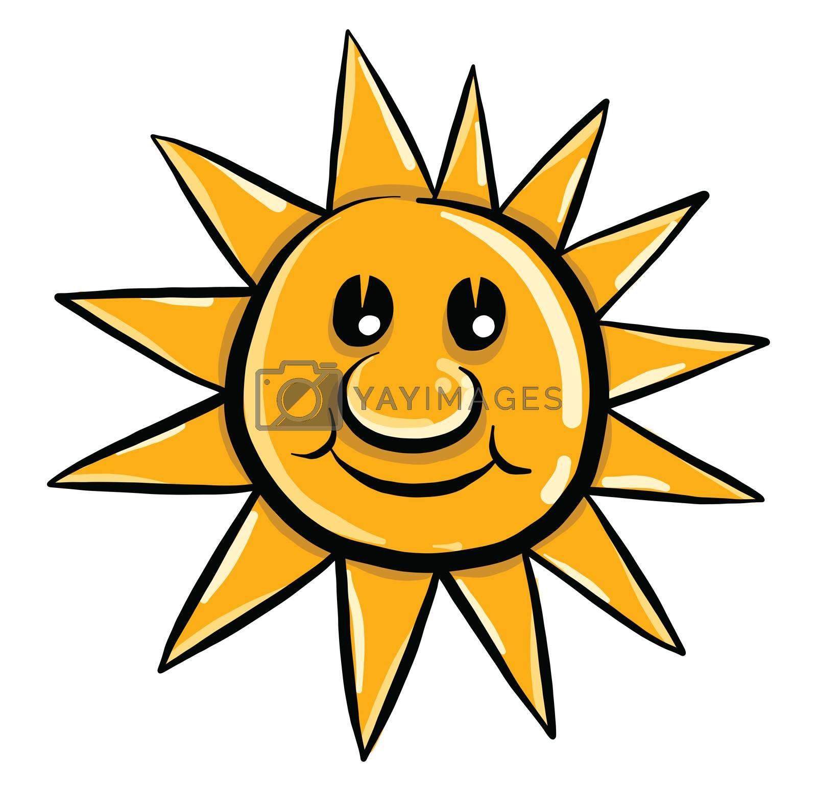 Happy sun , illustration, vector on white background by Morphart