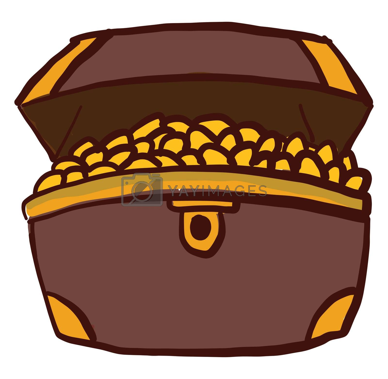 Chest full of gold , illustration, vector on white background by Morphart