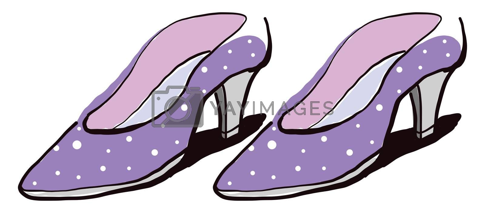 Purple woman shoes , illustration, vector on white background