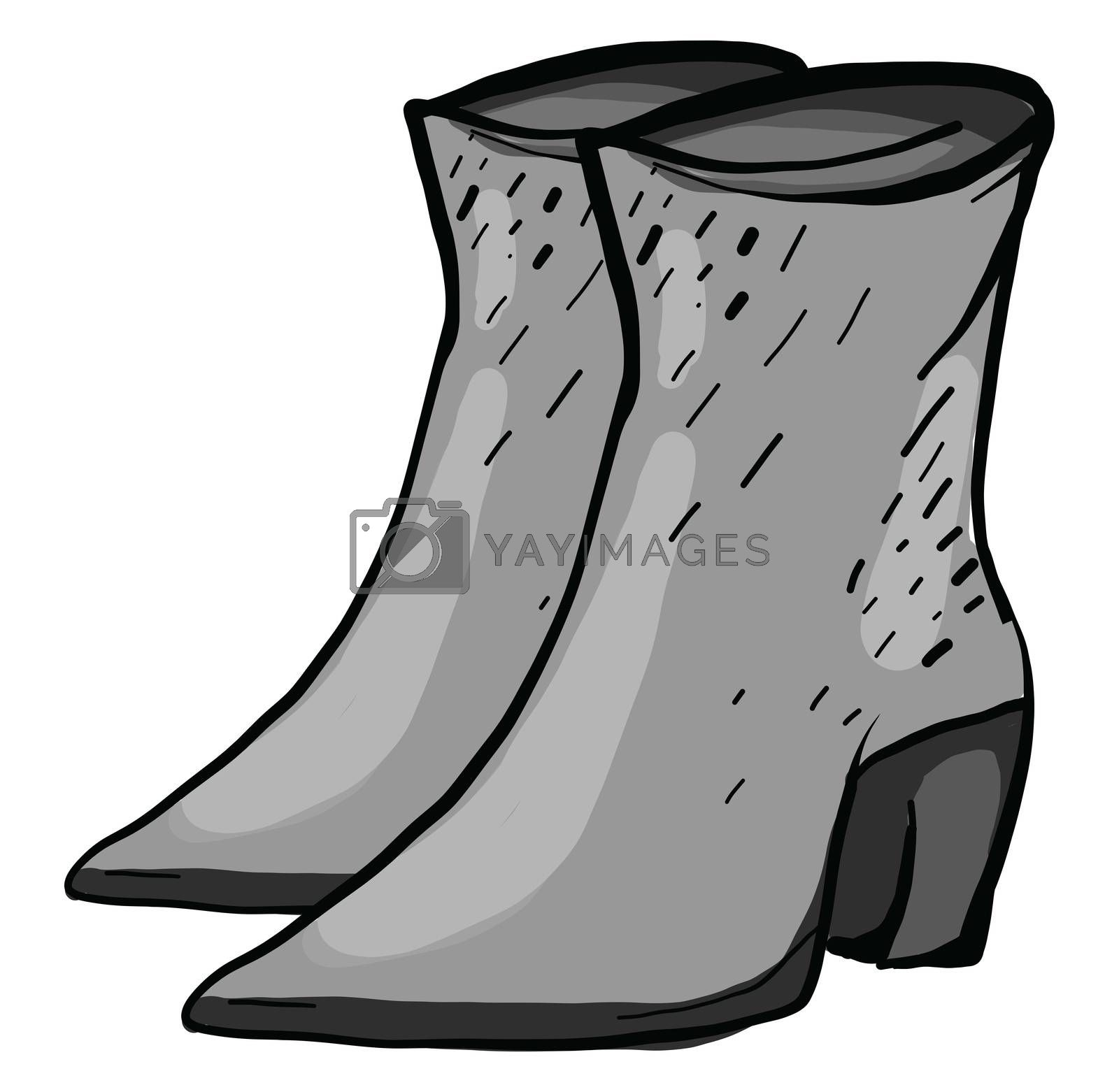 Gray woman boots , illustration, vector on white background