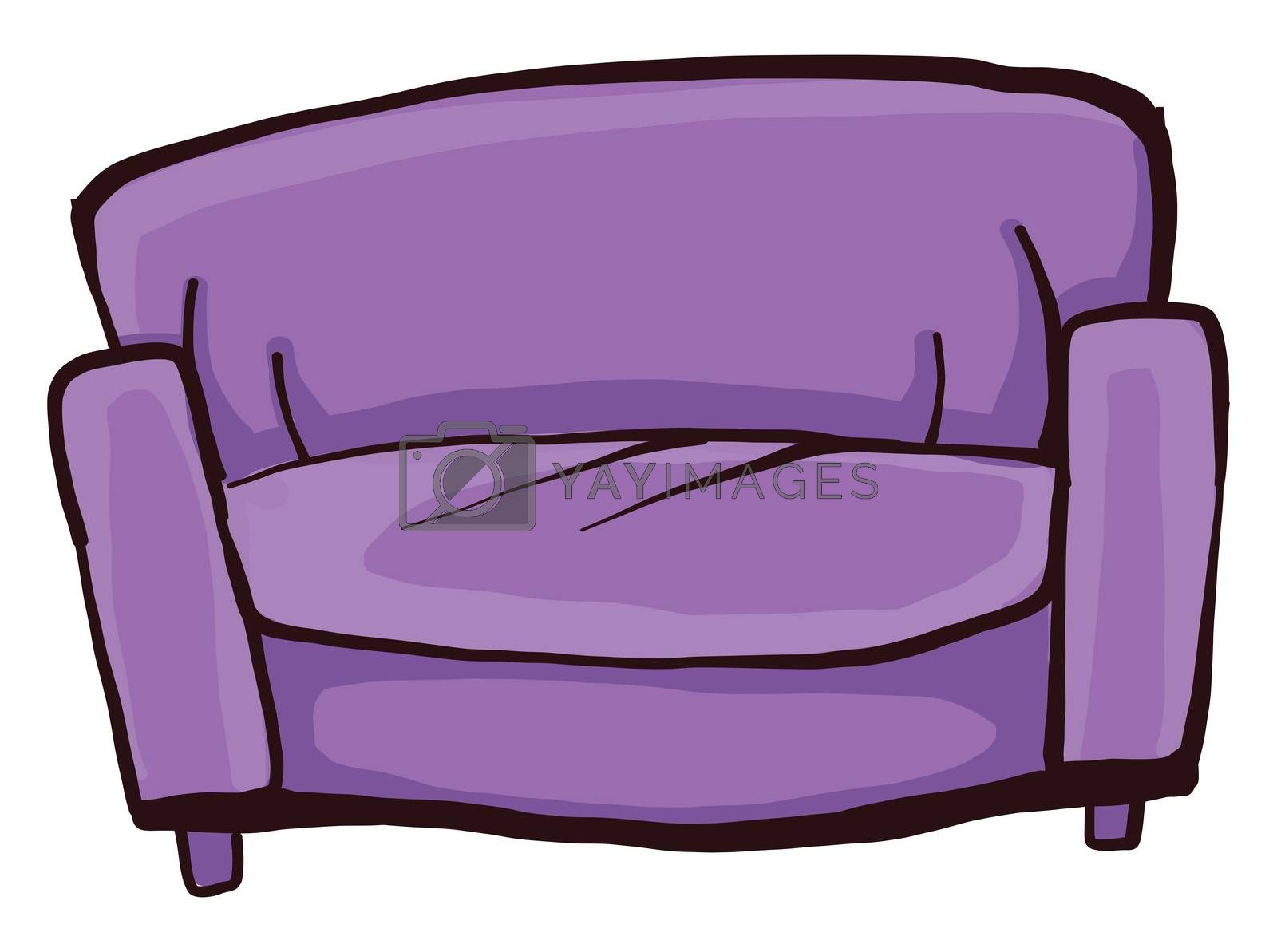 Purple sofa , illustration, vector on white background by Morphart