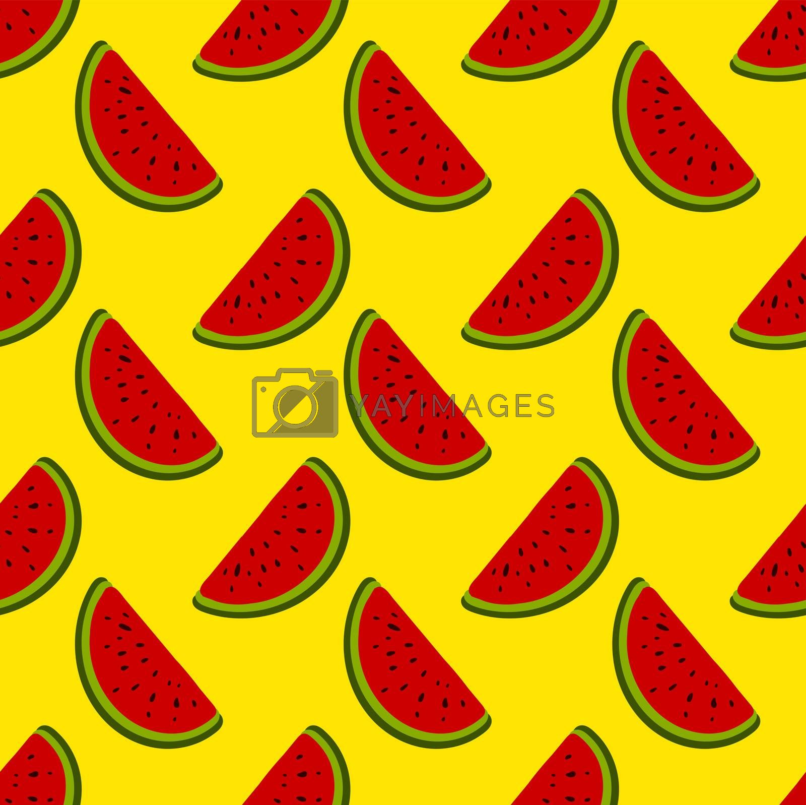 Watermelon pieces pattern , illustration, vector on white background