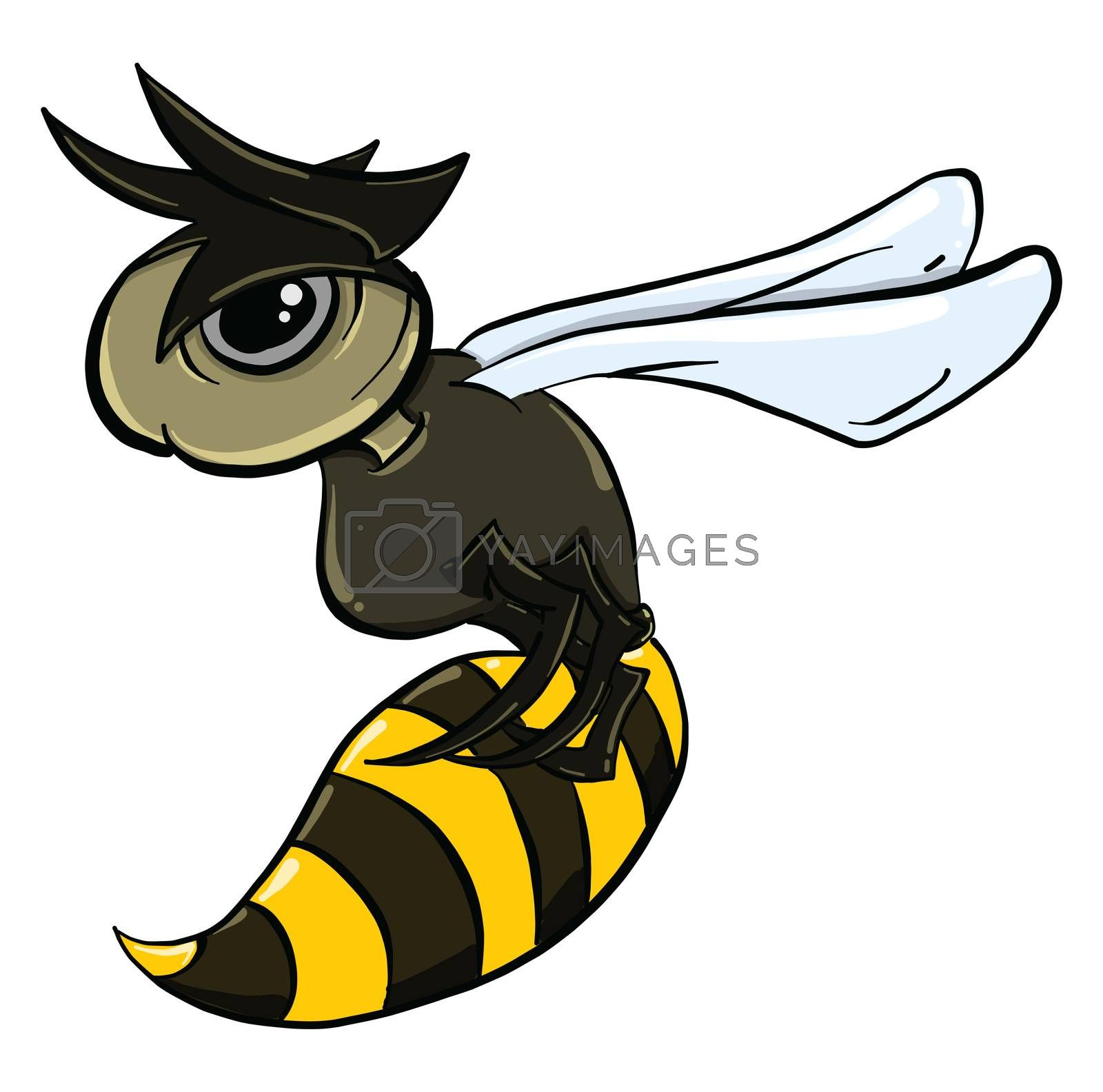 Angry wasp , illustration, vector on white background by Morphart