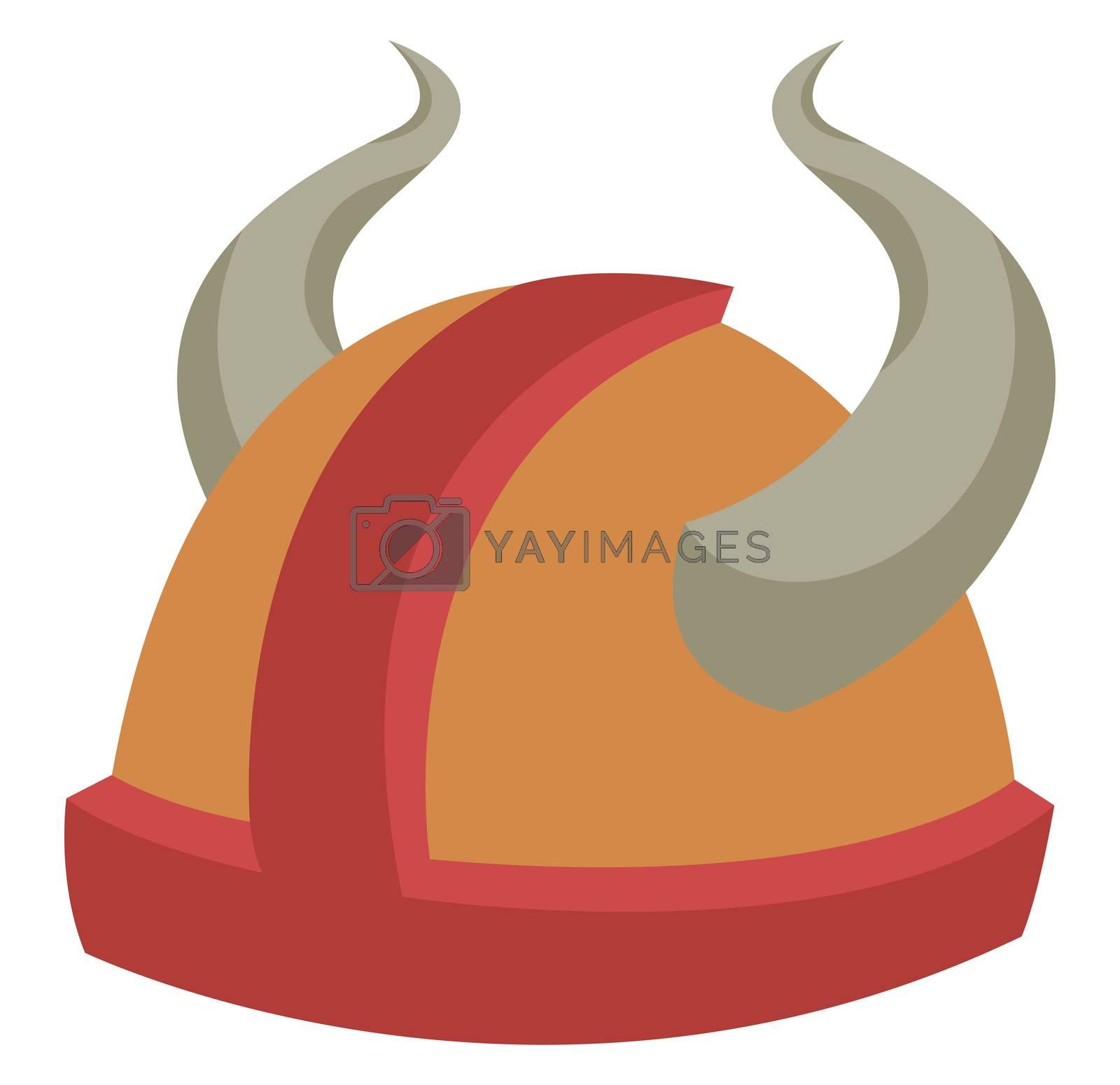 Viking helmet, illustration, vector on white background by Morphart