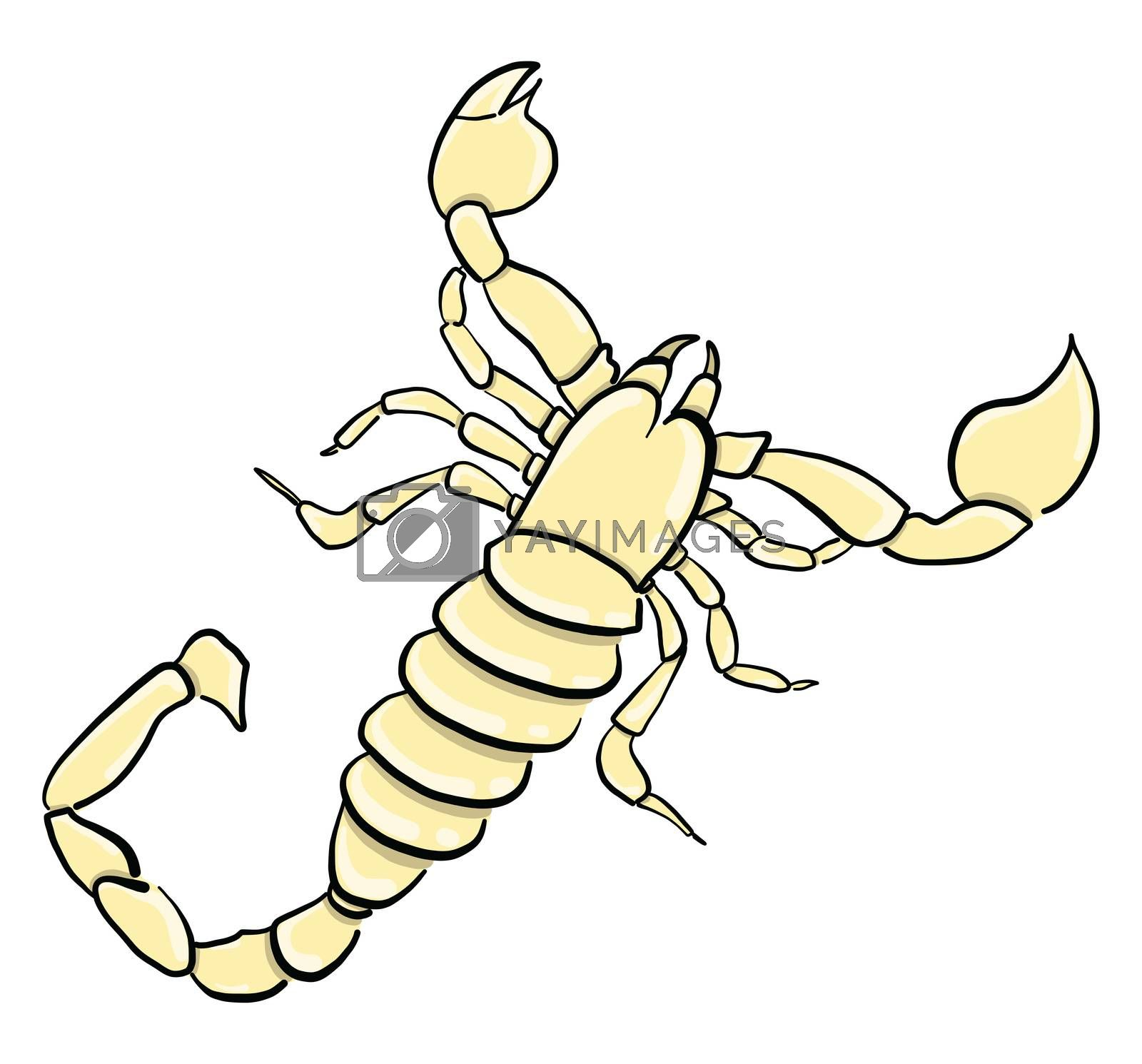 Yellow scorpion , illustration, vector on white background by Morphart