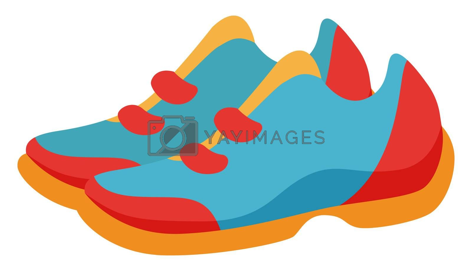 Colorful sneakers, illustration, vector on white background by Morphart