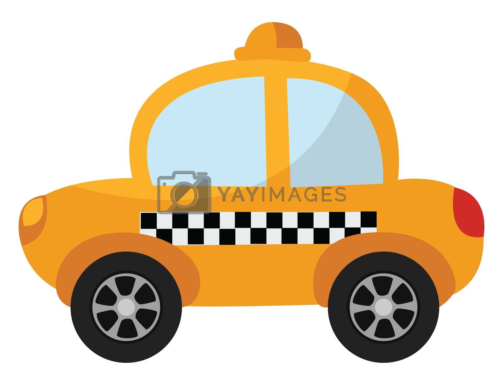 Yellow taxi , illustration, vector on white background