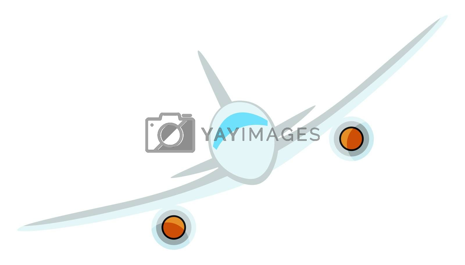 White flying aeroplane, illustration, vector on white background